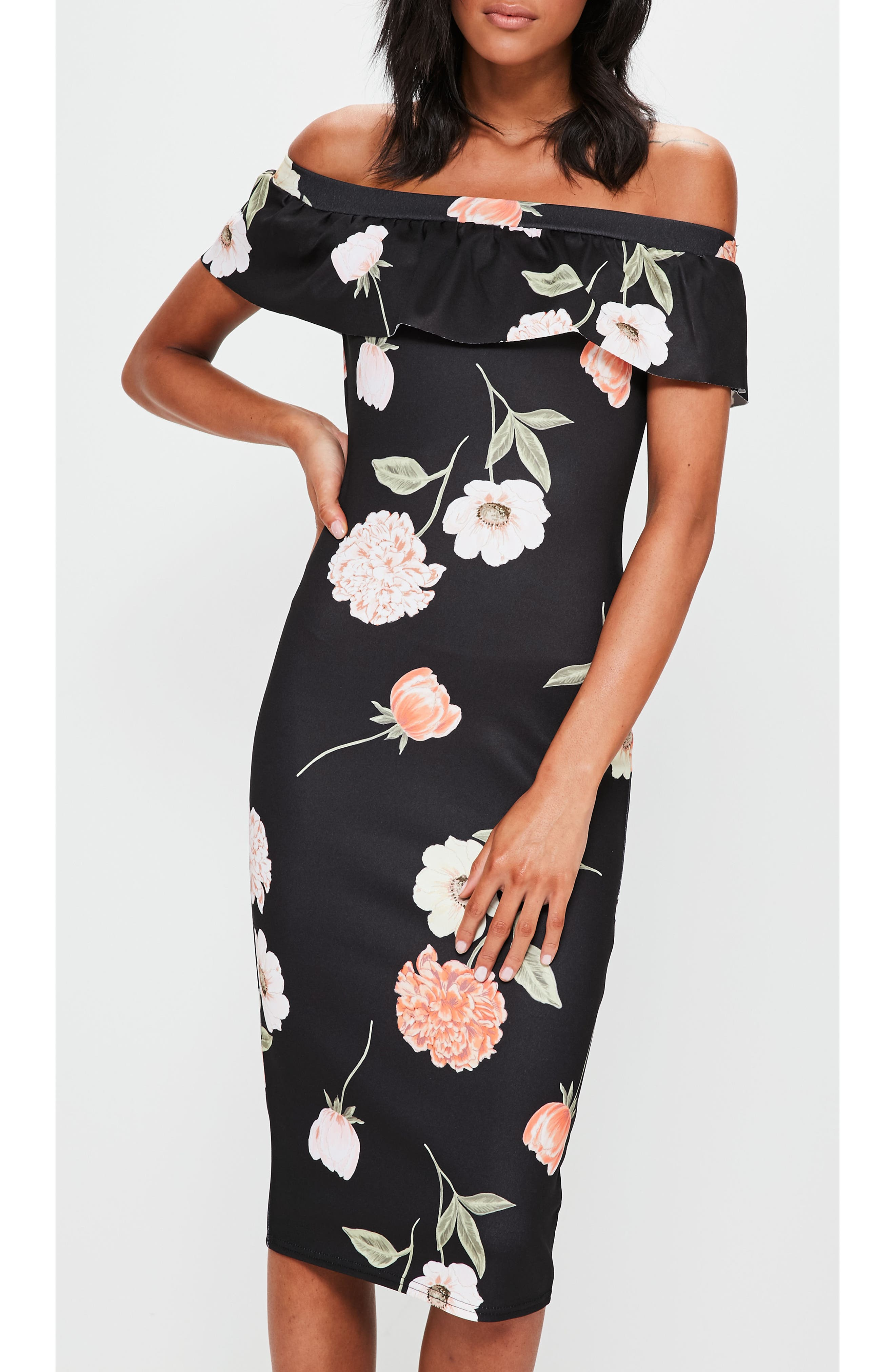 Alternate Image 4  - Missguided Bardot Off the Shoulder Midi Dress