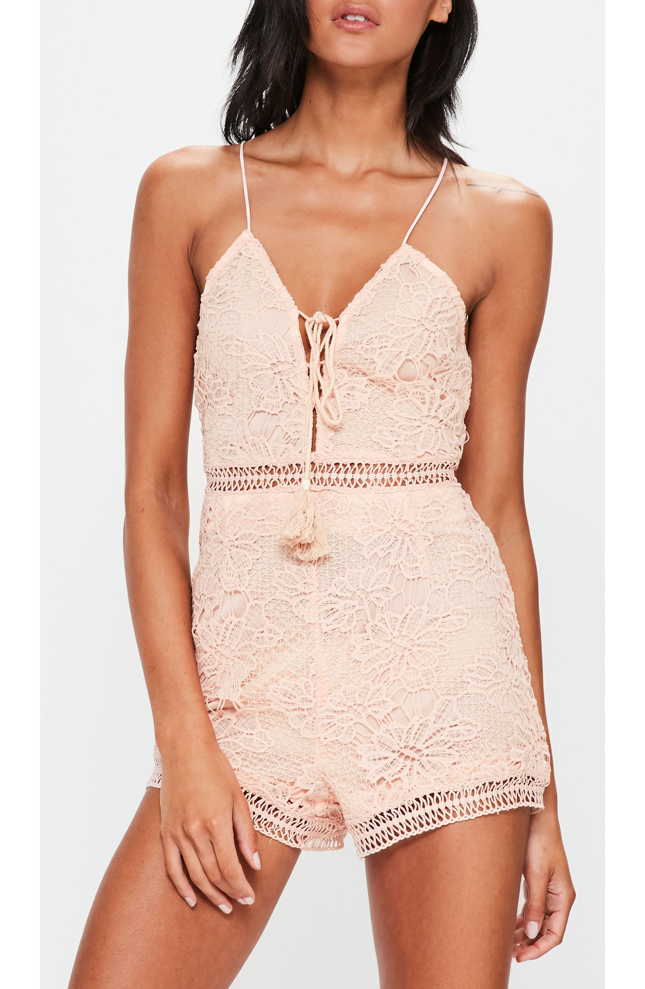Lace Up Romper,                             Alternate thumbnail 3, color,                             Pink