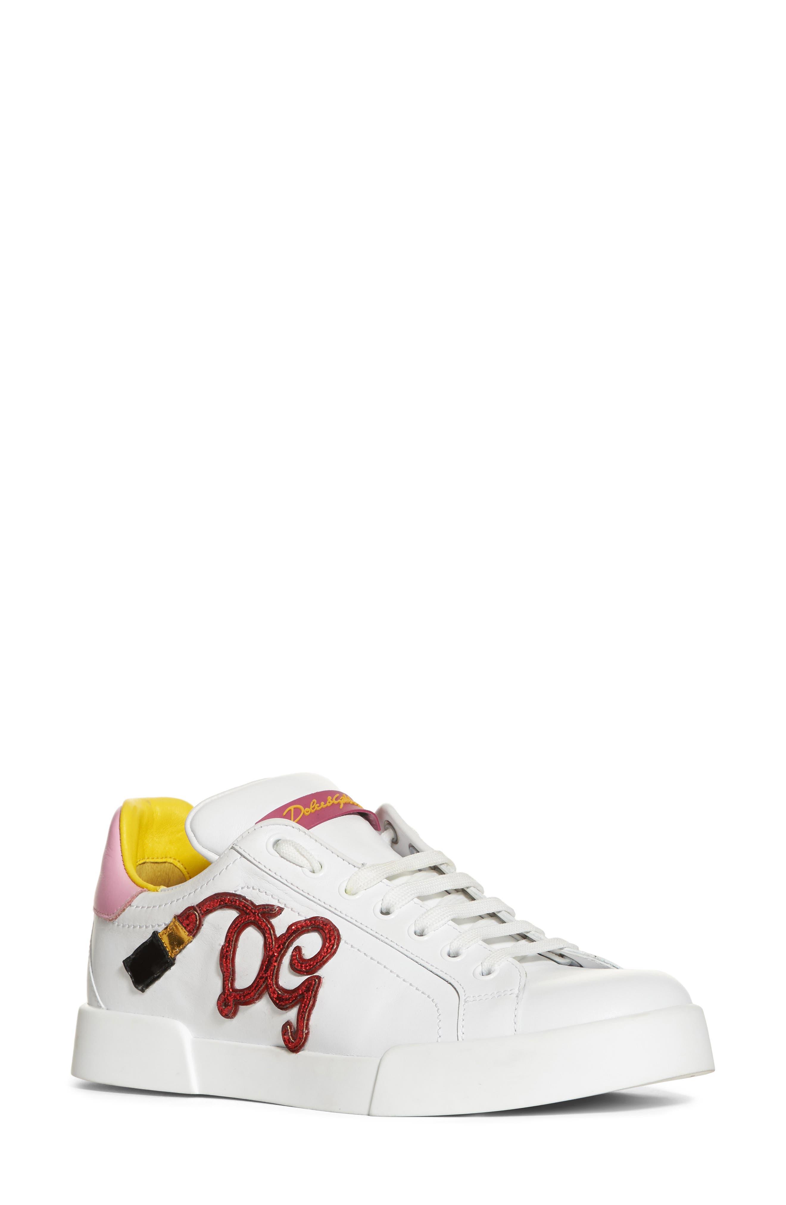Lipstick Sneaker,                             Main thumbnail 1, color,                             White/ Pink