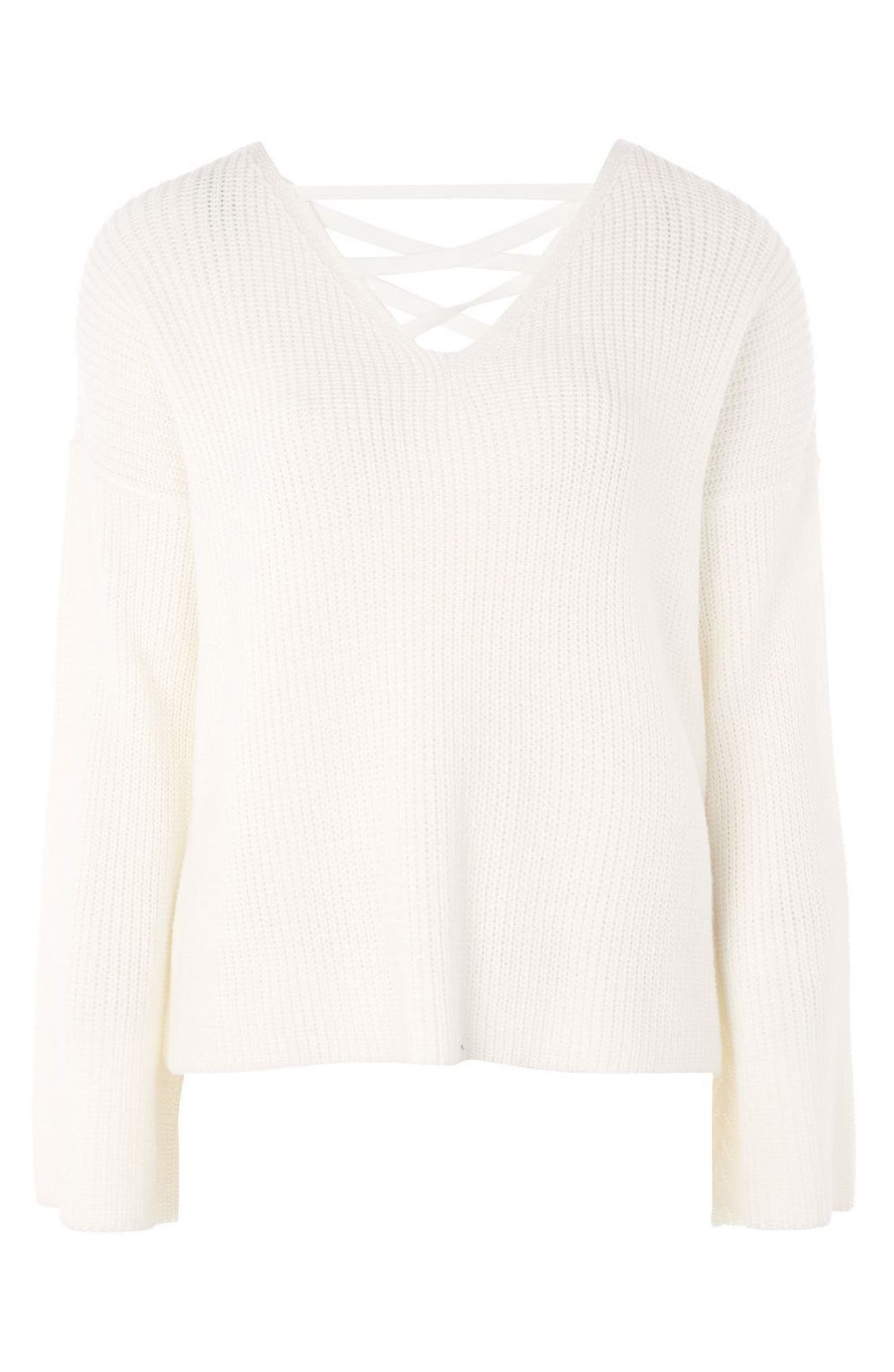 Alternate Image 4  - Topshop Lattice Back Sweater