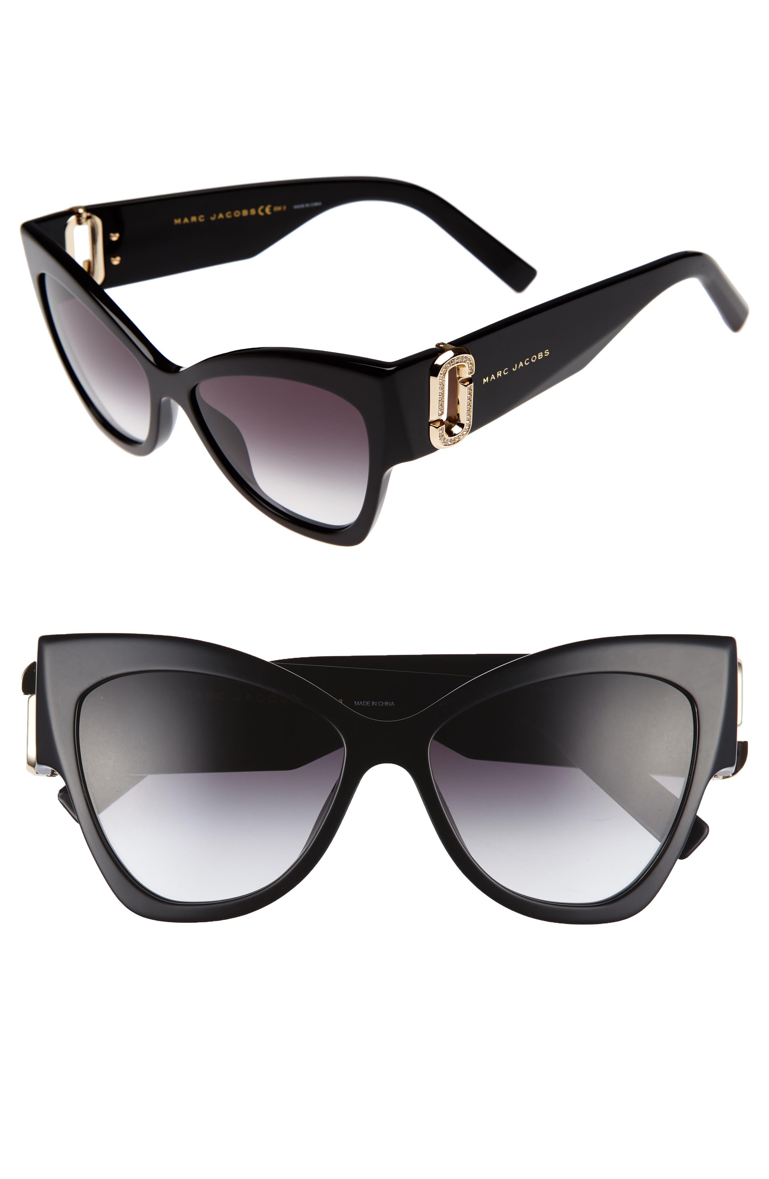 54mm Cat Eye Sunglasses,                         Main,                         color, Black