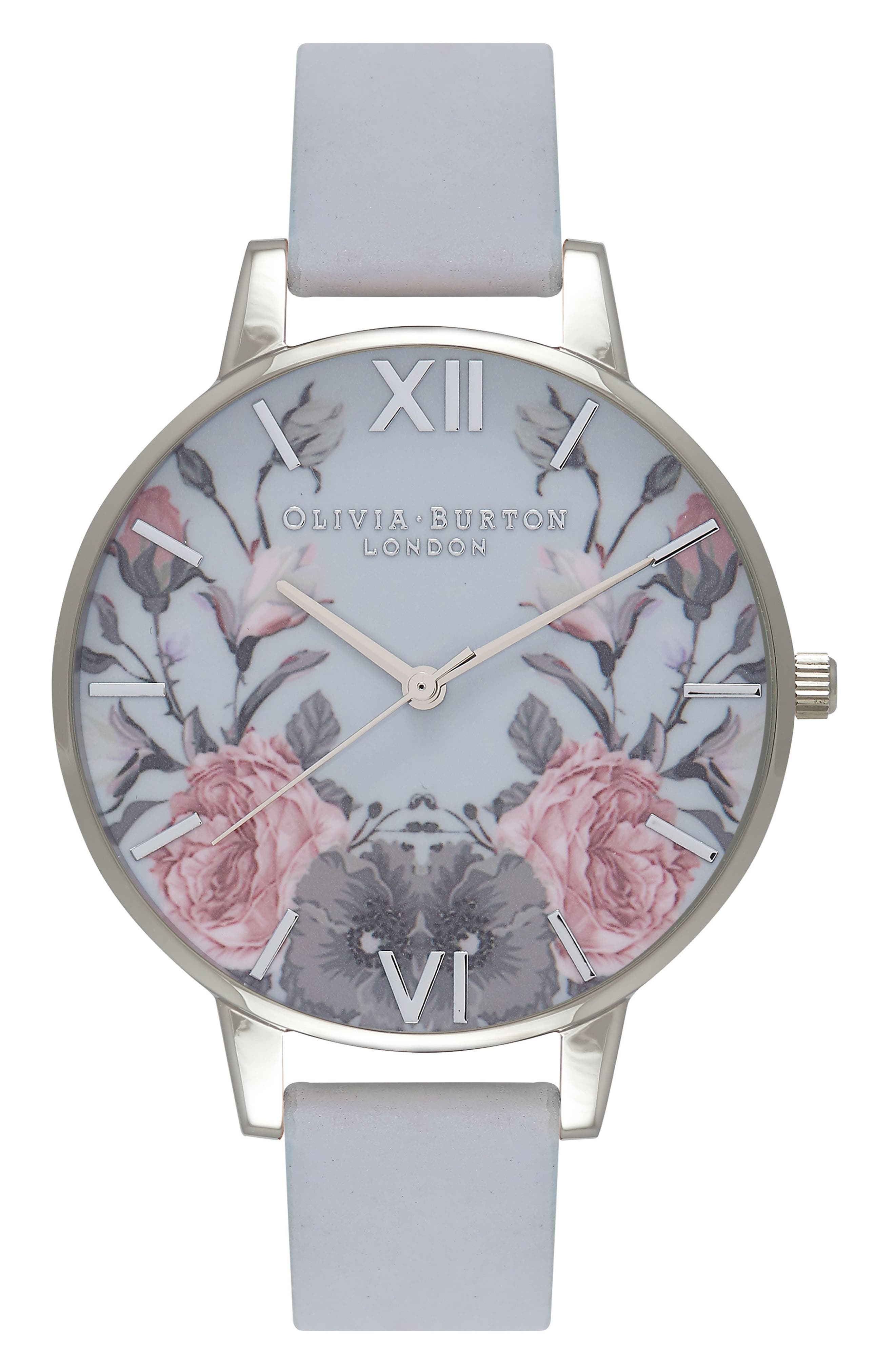 Alternate Image 1 Selected - Olivia Burton Enchanted Garden Leather Strap Watch, 38mm