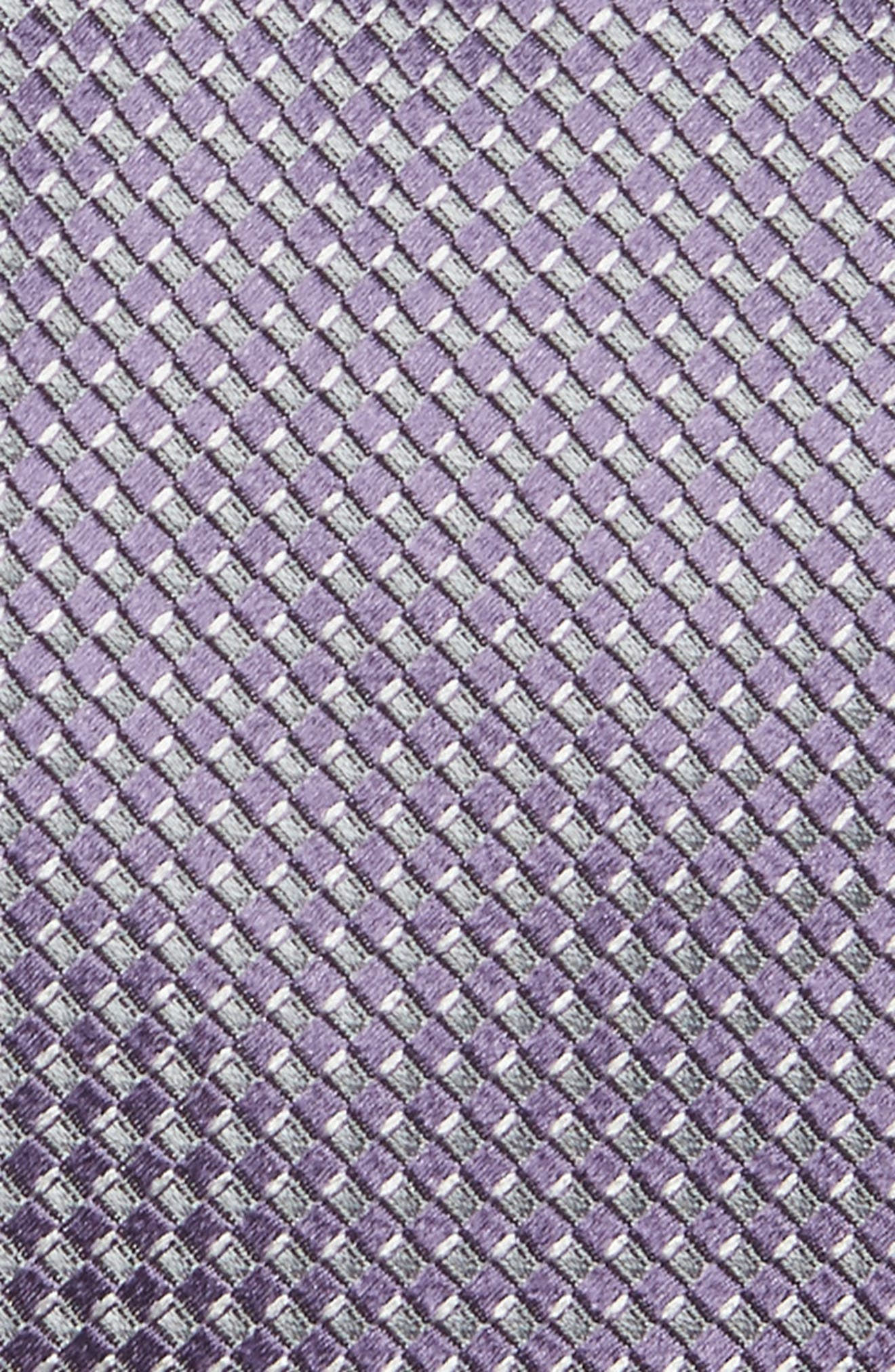 Grid Silk Tie,                             Alternate thumbnail 2, color,                             Lilac