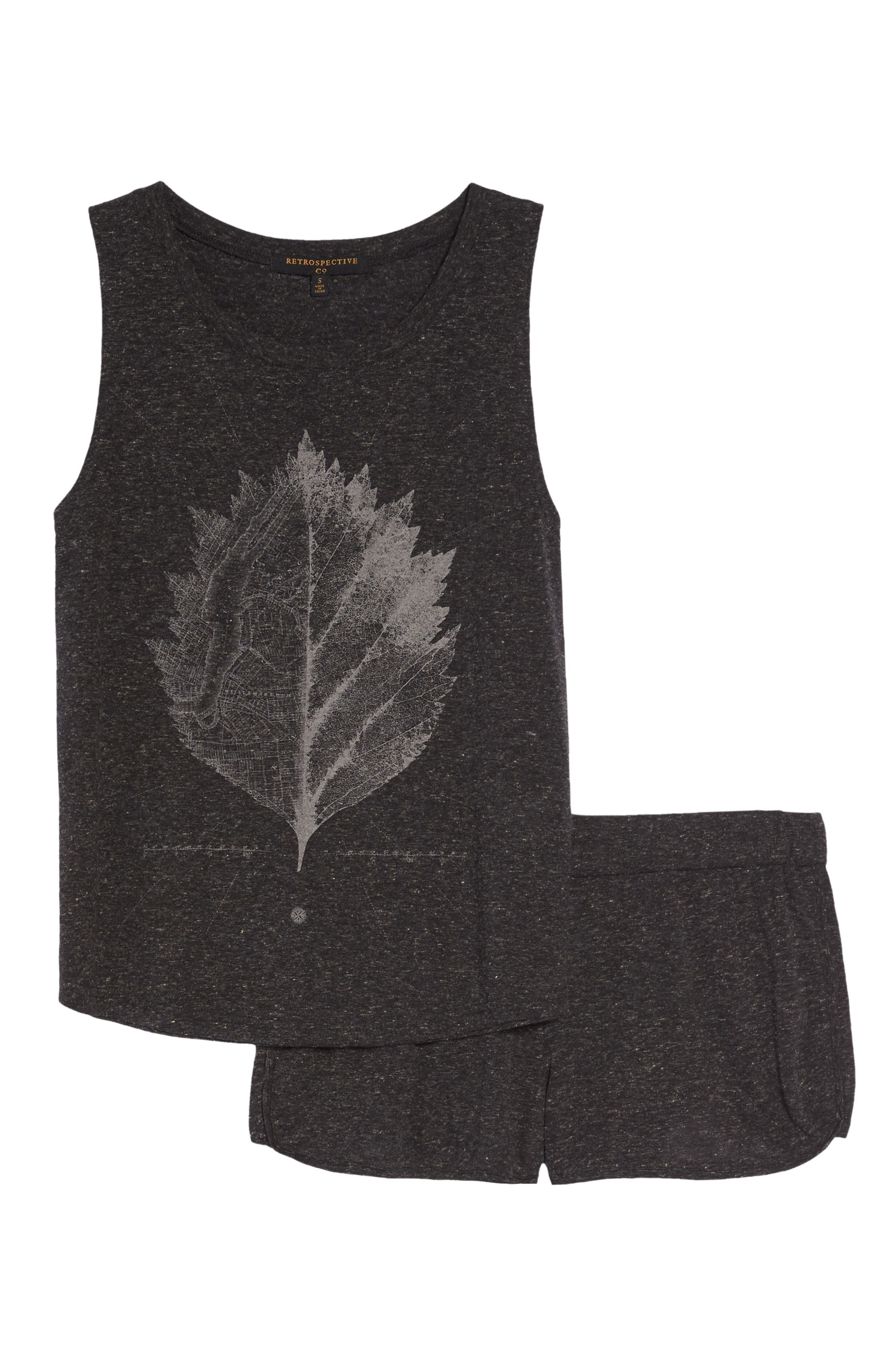 Muscle Tank & Shorts,                             Alternate thumbnail 4, color,                             Black Nyc Leaf Reflect