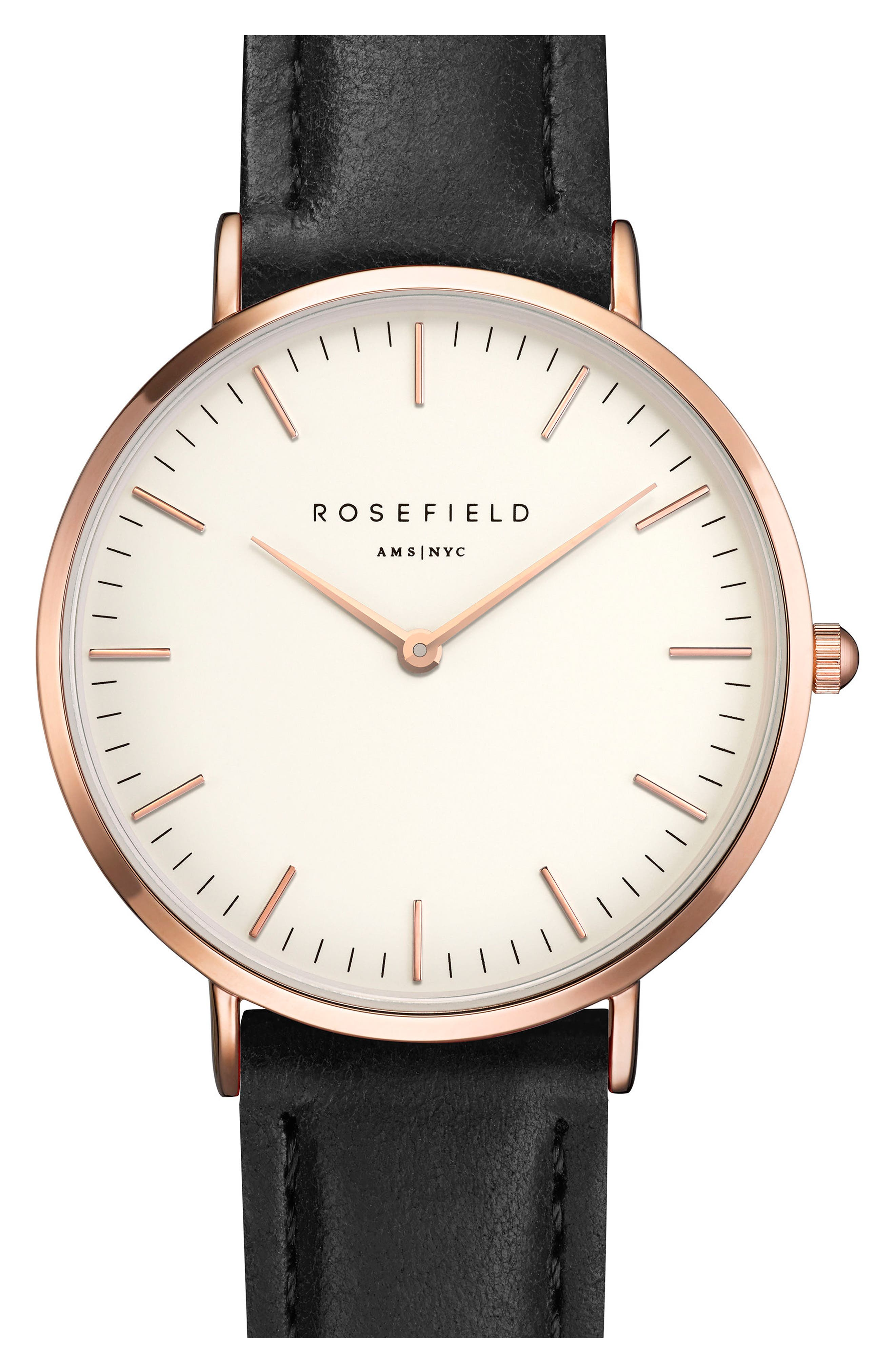 Main Image - Rosefield Tribeca Leather Strap Watch, 33mm