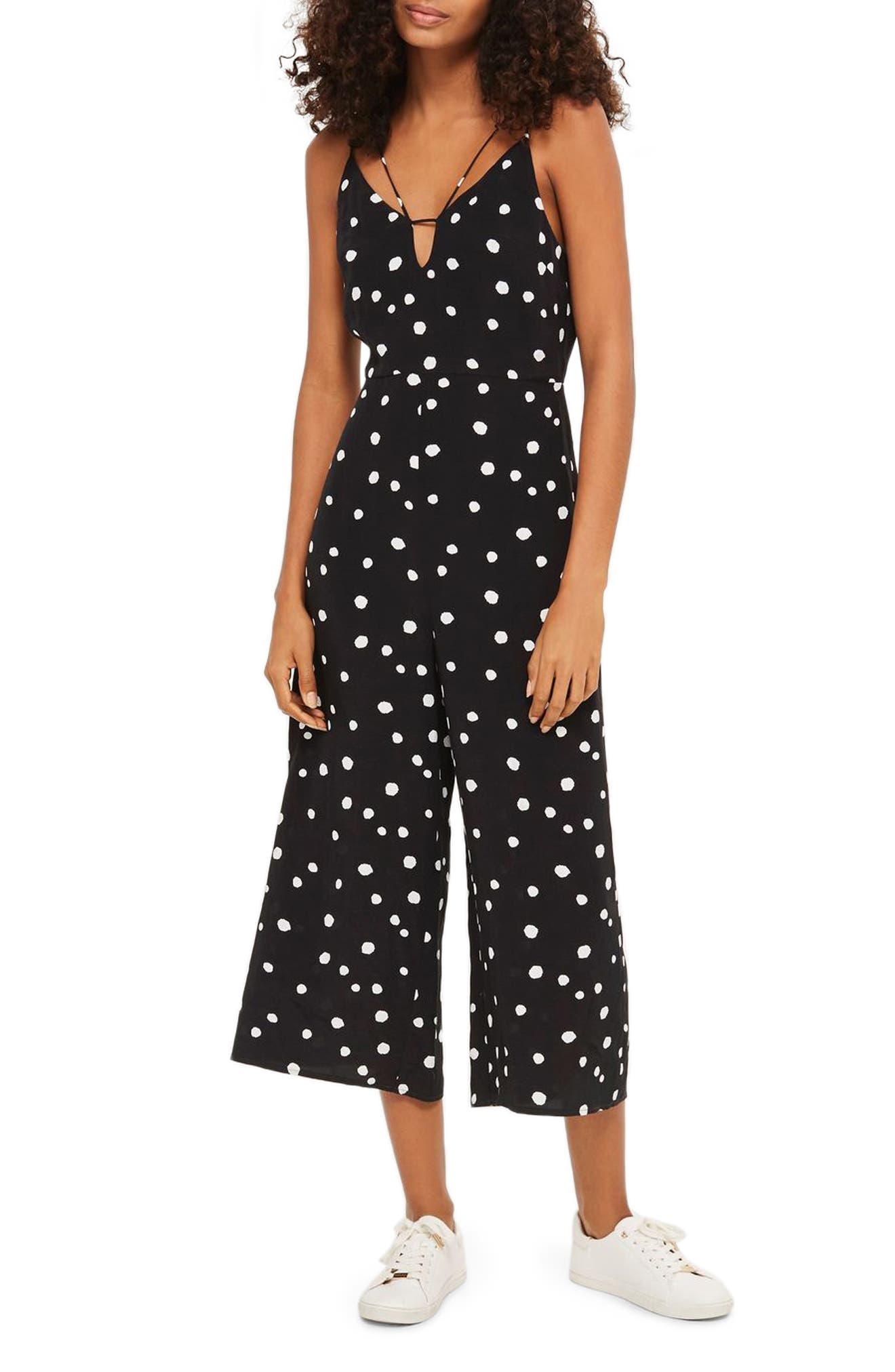 Spot Strappy Culotte Jumpsuit,                         Main,                         color, Black Multi