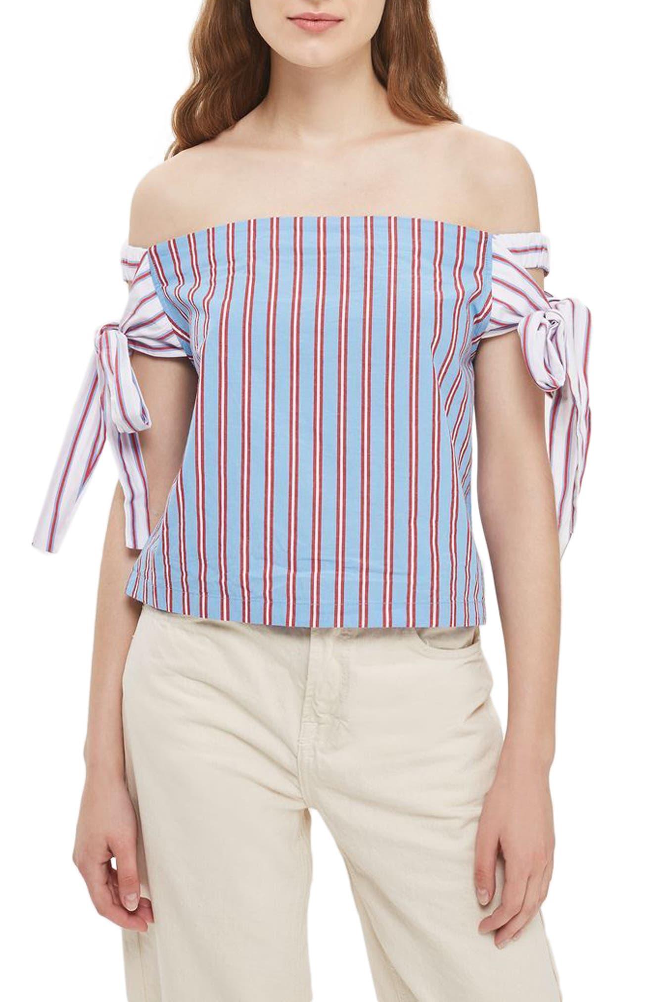 TOPSHOP Stripe Tie Off-the-Shoulder Top