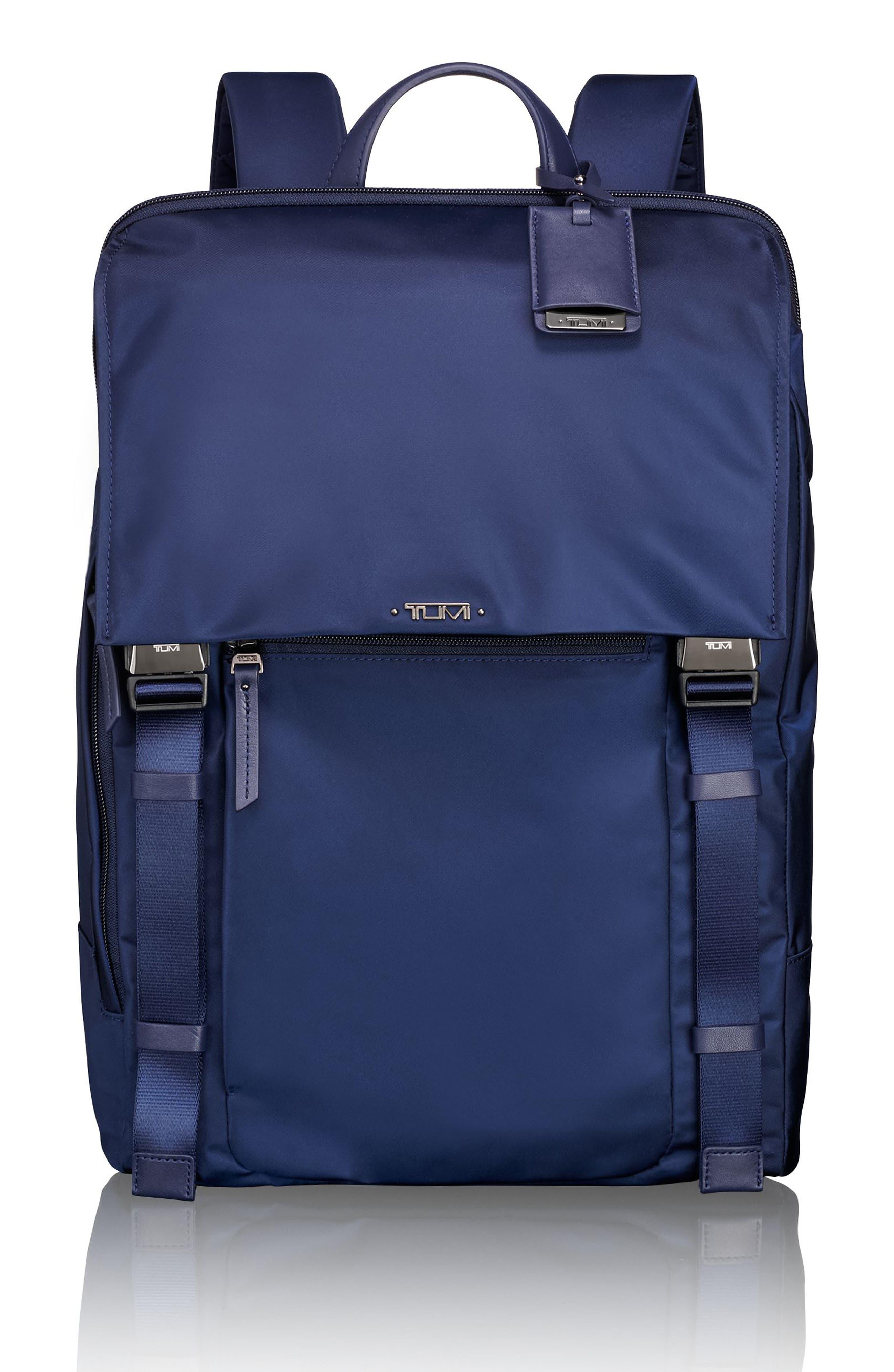 'Voyageur - Sacha' Flap Backpack,                             Main thumbnail 1, color,                             Marine