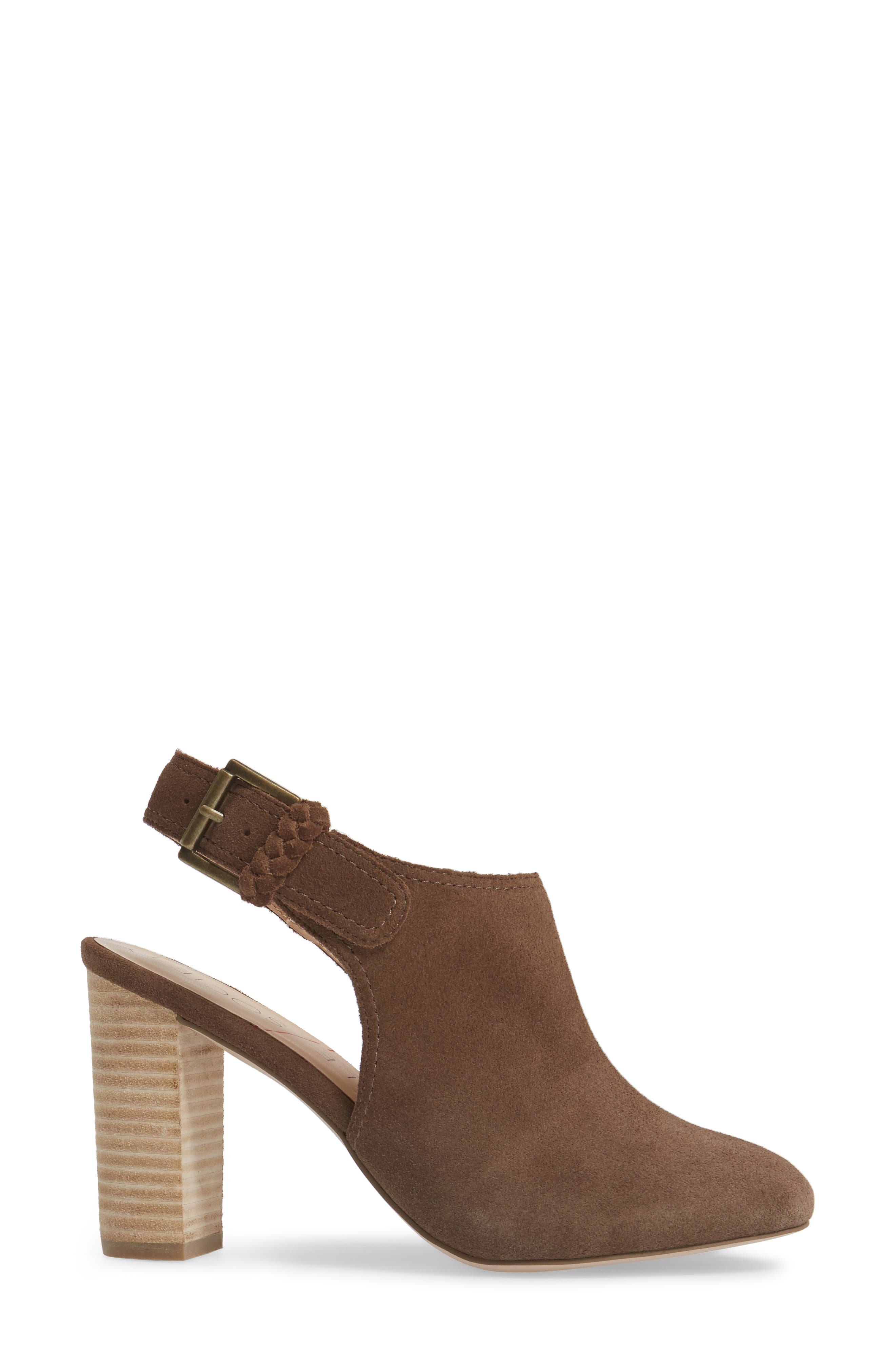 Apollo Slingback Bootie,                             Alternate thumbnail 3, color,                             Dark Taupe Suede Suede