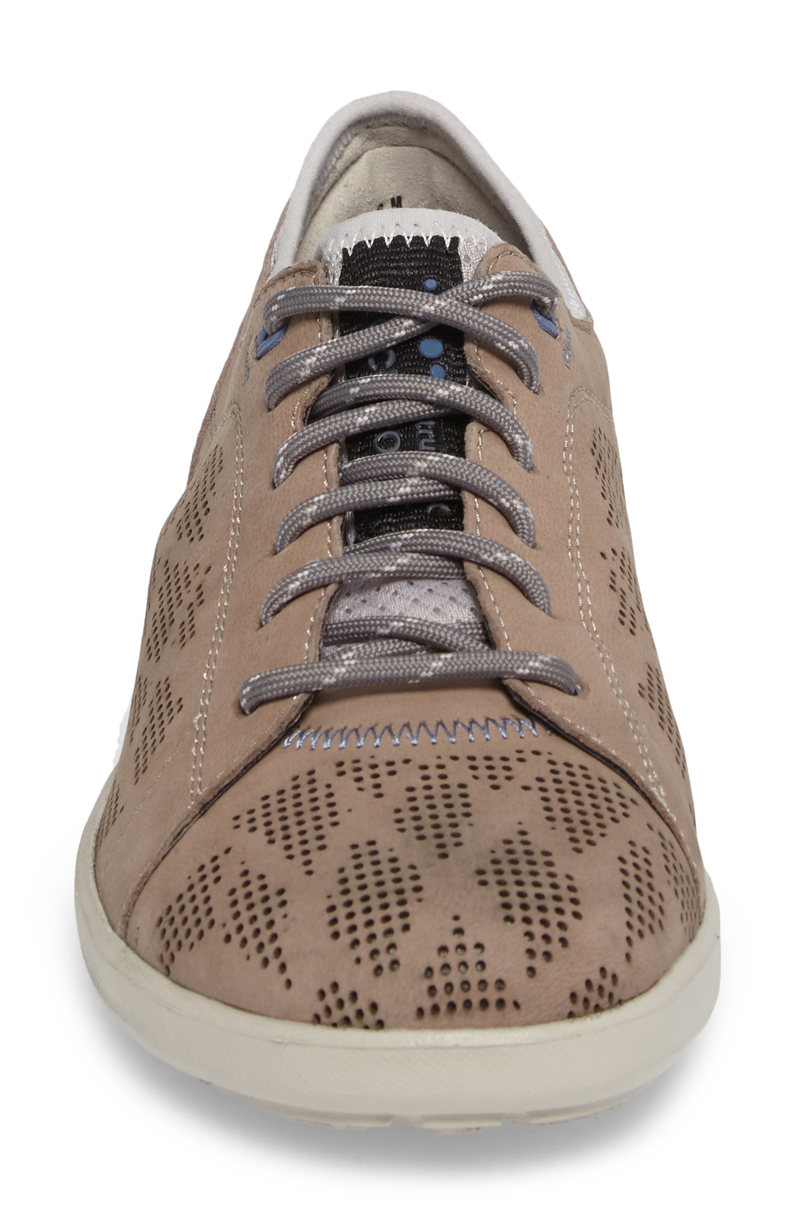 truFLEX Perforated Sneaker,                             Alternate thumbnail 4, color,                             Sand Leather