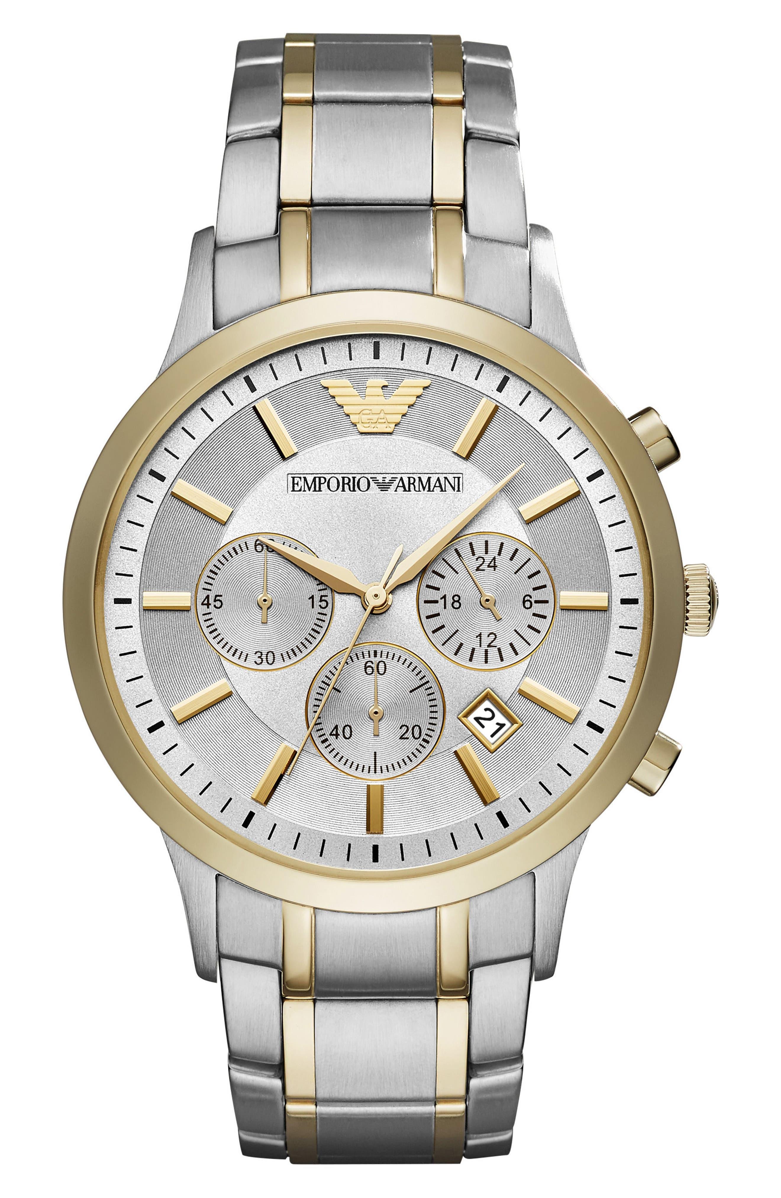 Alternate Image 1 Selected - Emporio Armani Two-Tone Chronograph Bracelet Watch, 43mm