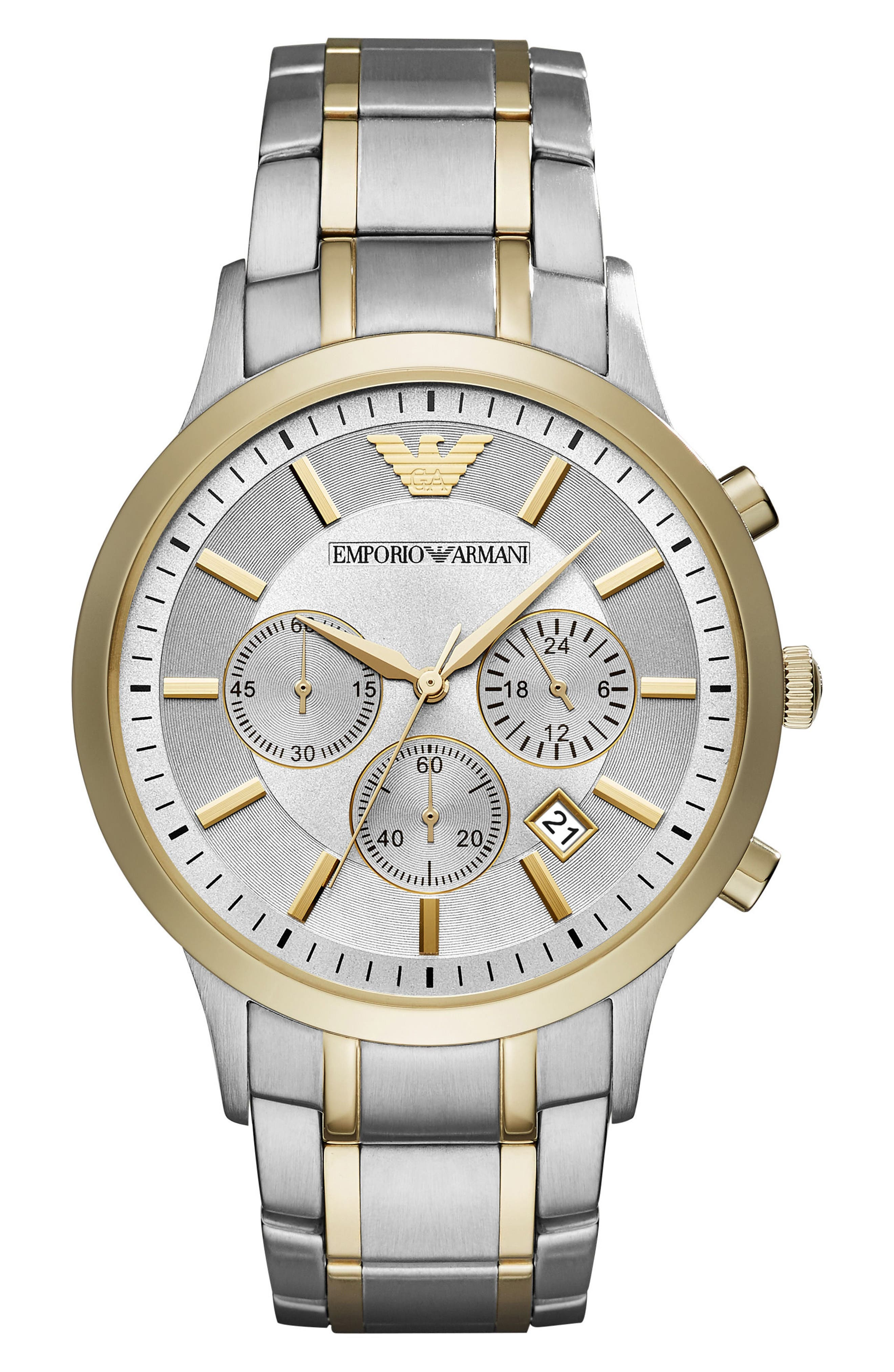 Two-Tone Chronograph Bracelet Watch, 43mm,                         Main,                         color, Gold/ Silver