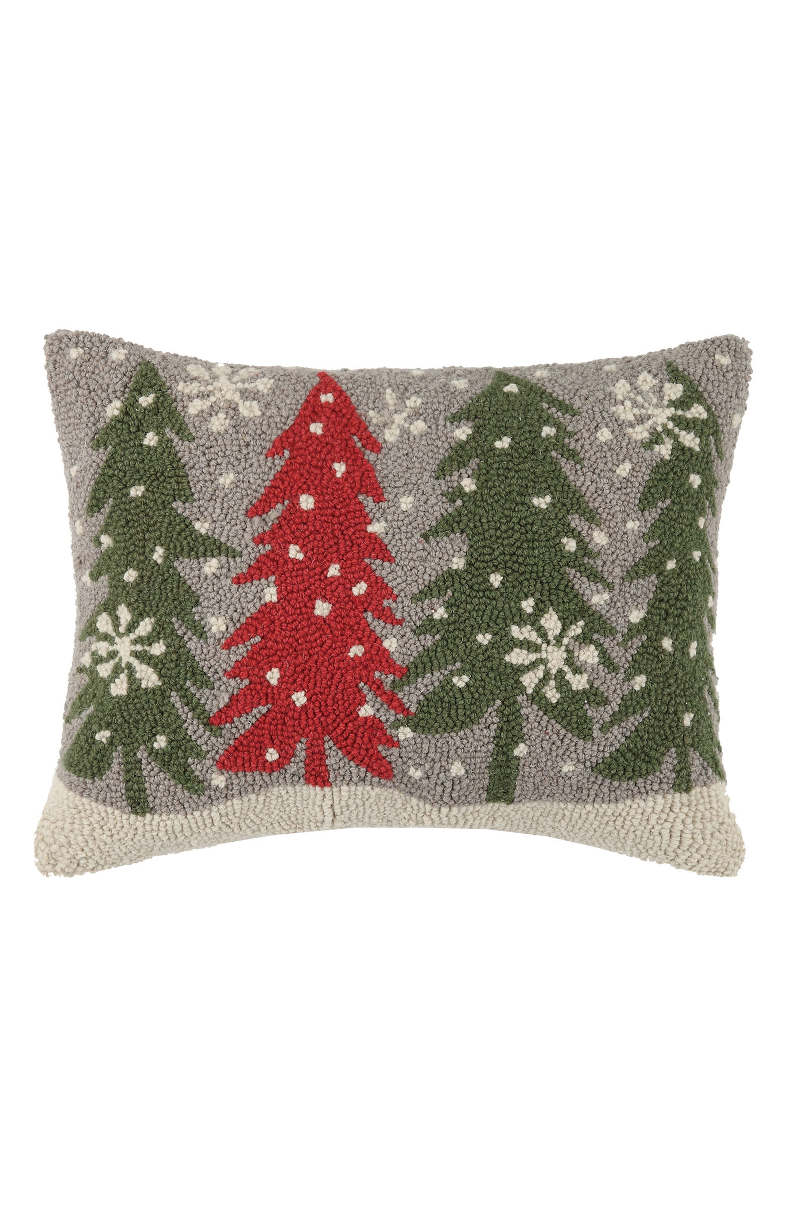 Trees with Snowflakes Hooked Accent Pillow,                         Main,                         color, Grey