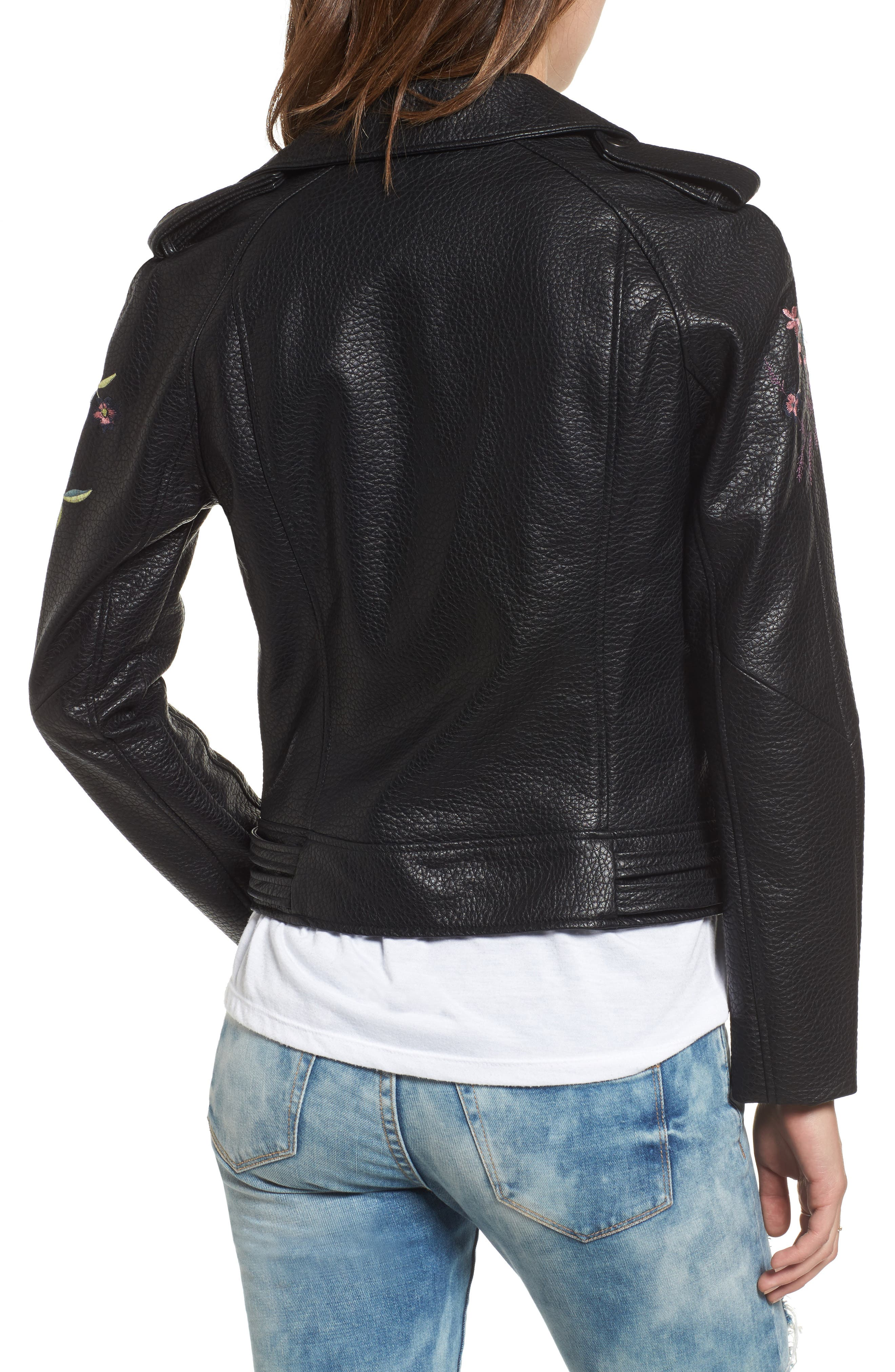 Baxley Embroidered Faux Leather Moto Jacket,                             Alternate thumbnail 2, color,                             Black