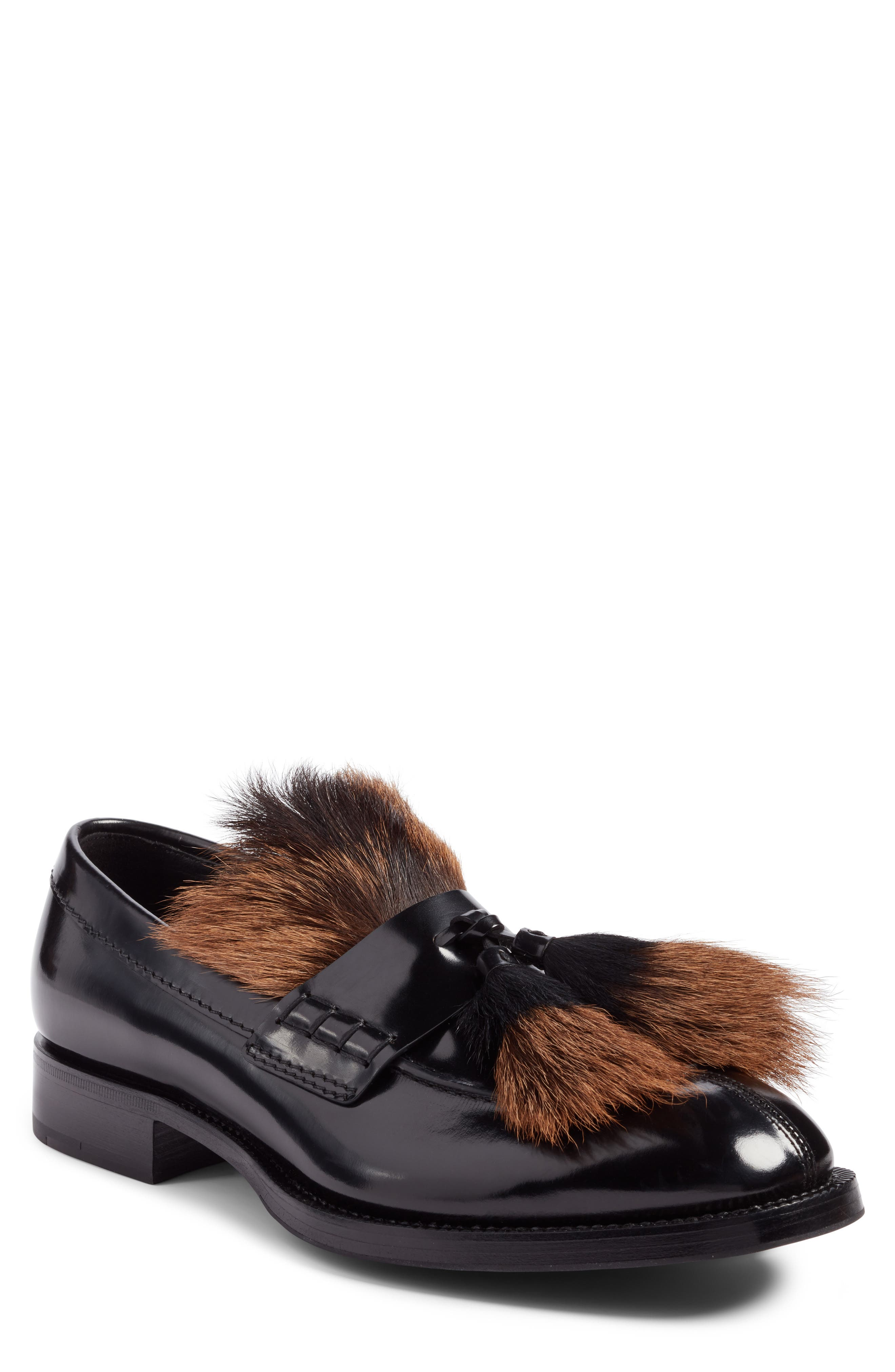 Tassel Loafer with Genuine Goat Hair Trim,                             Main thumbnail 1, color,                             Nero Leather