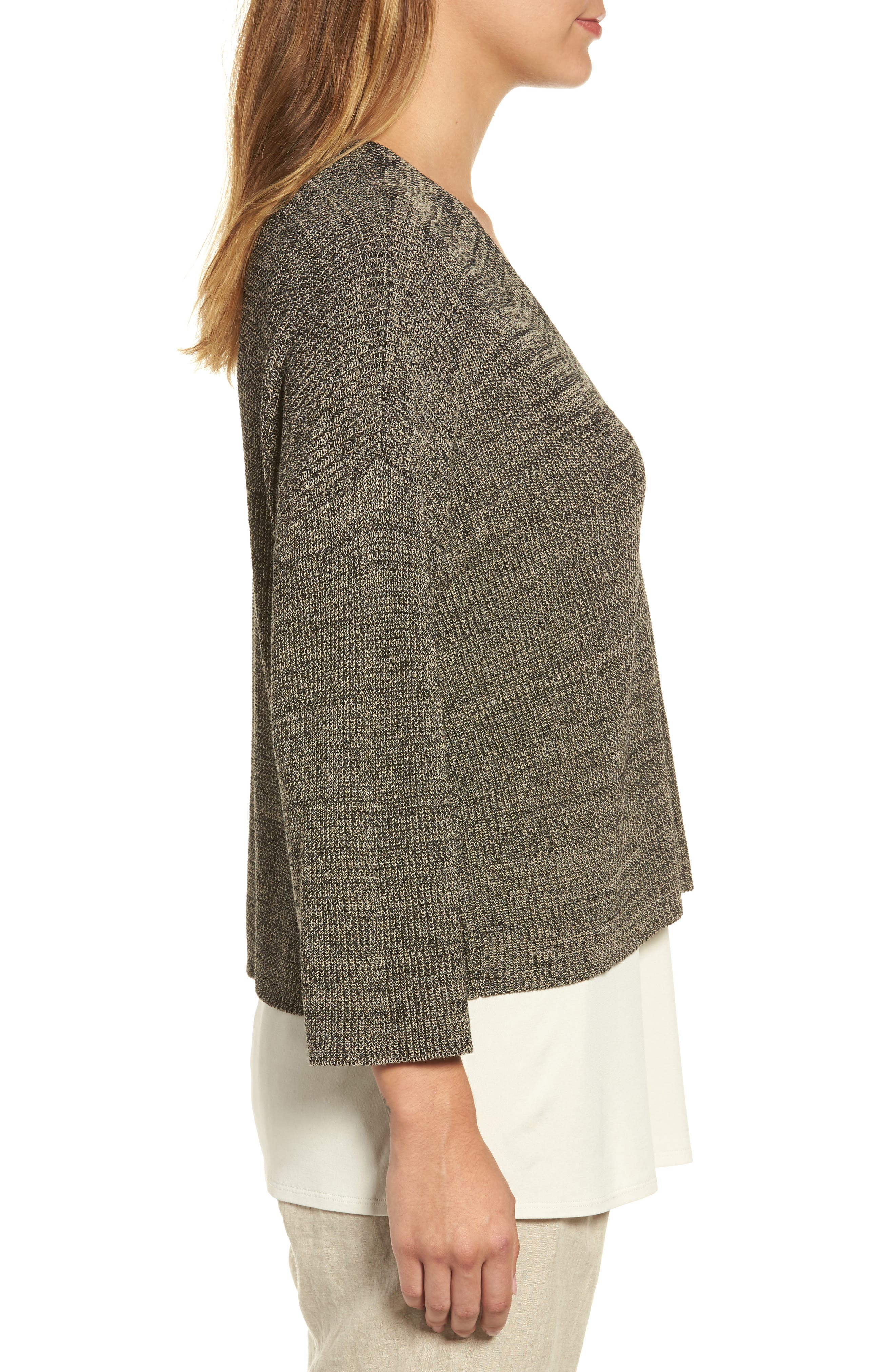 Mélange Knit Tencel<sup>®</sup> Crop Sweater,                             Alternate thumbnail 3, color,                             Black Natural