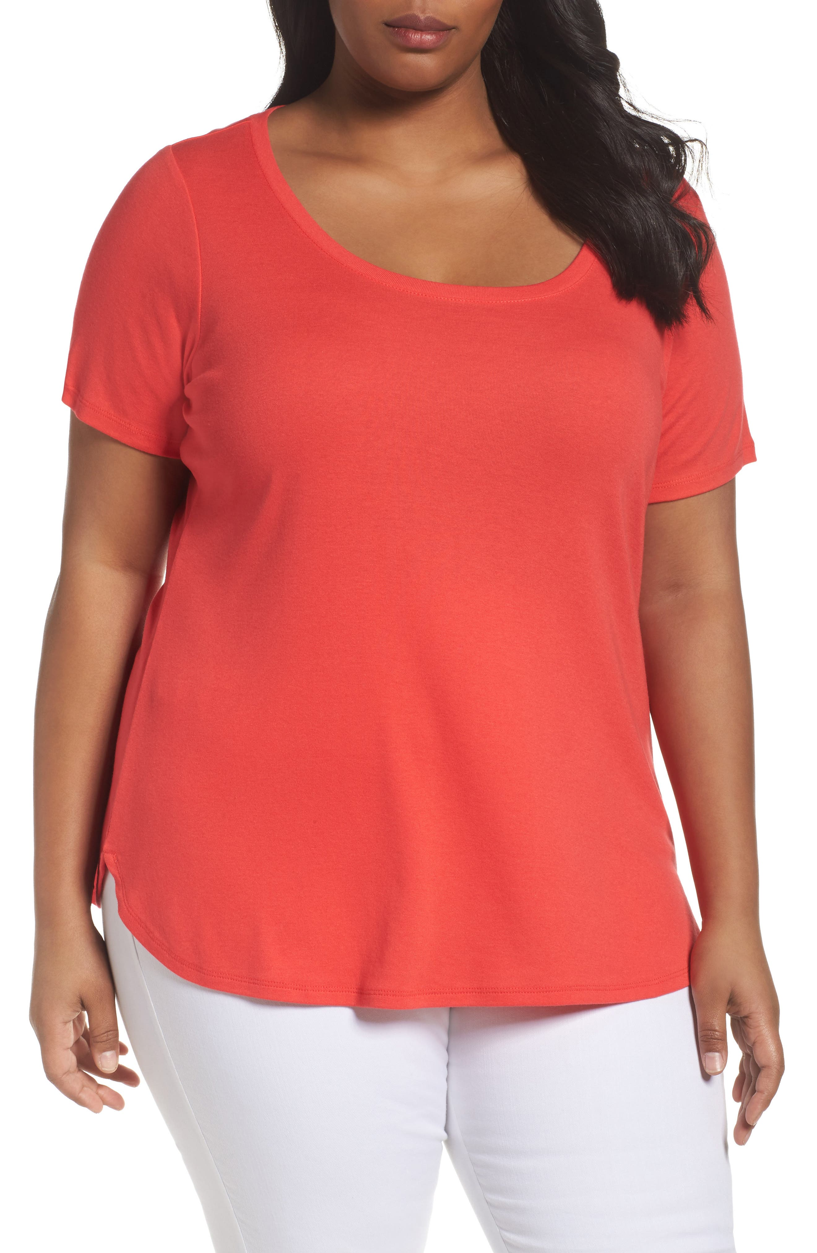 Scoop Neck Tee,                         Main,                         color, Red Hibiscus