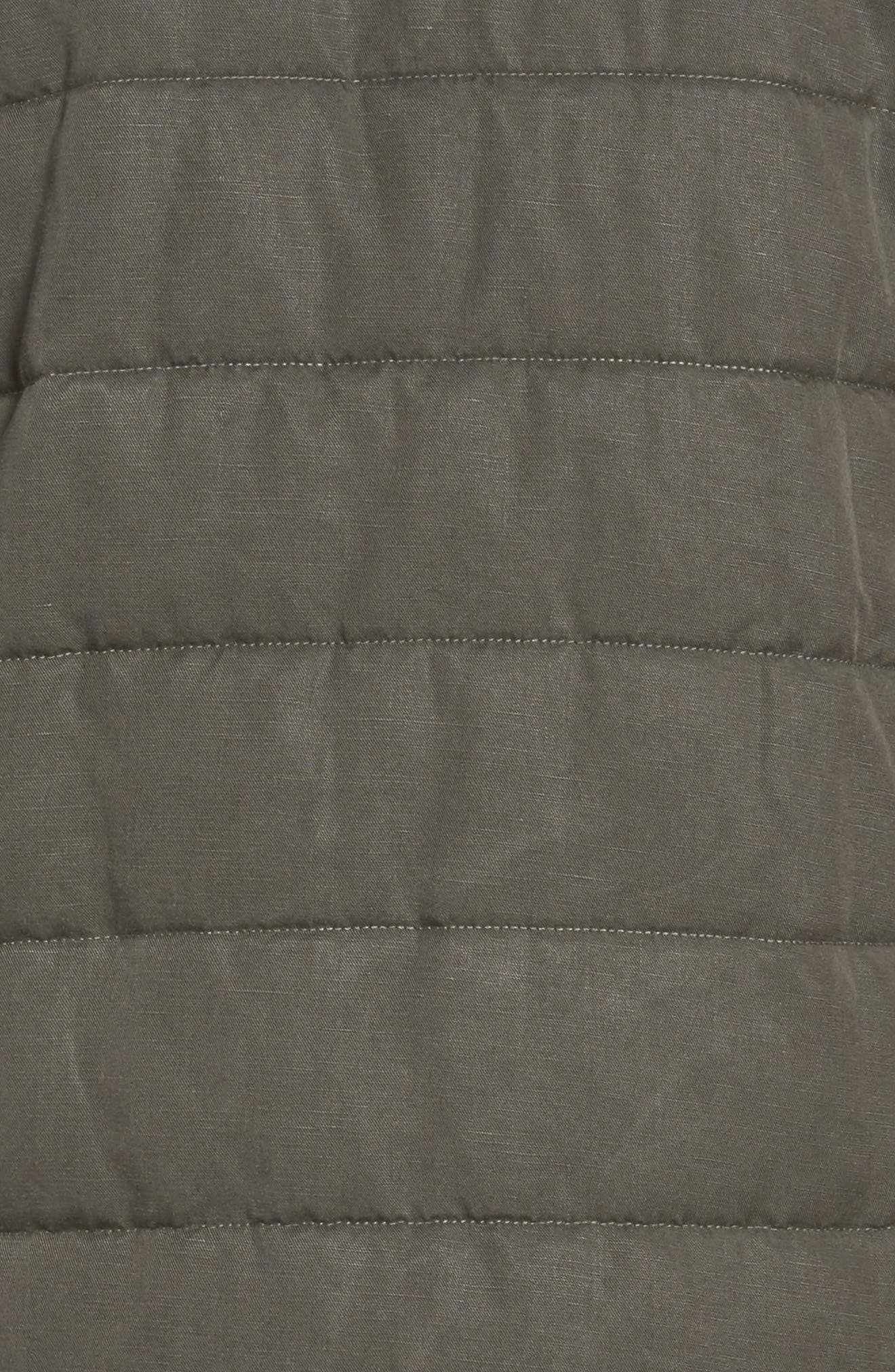 Collarless Quilted Jacket,                             Alternate thumbnail 5, color,                             Bark