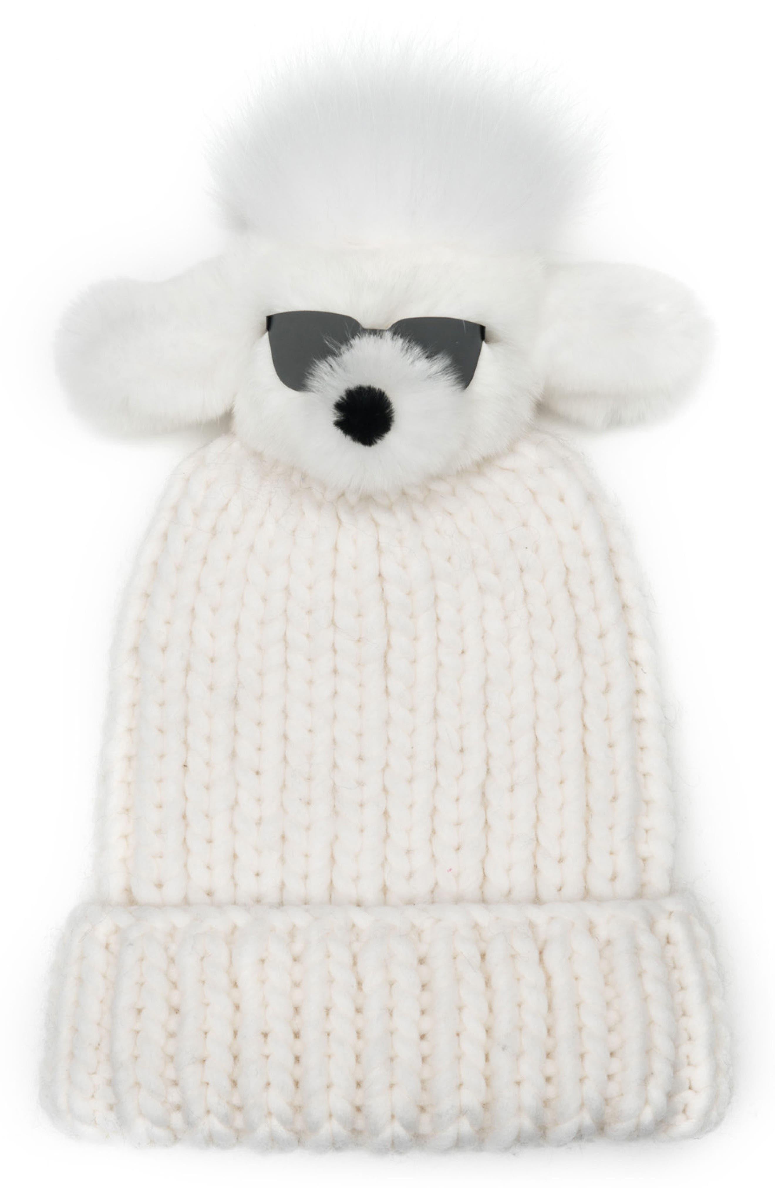 Rain Wool Stocking Cap with Genuine Fox Fur Pom,                         Main,                         color, White