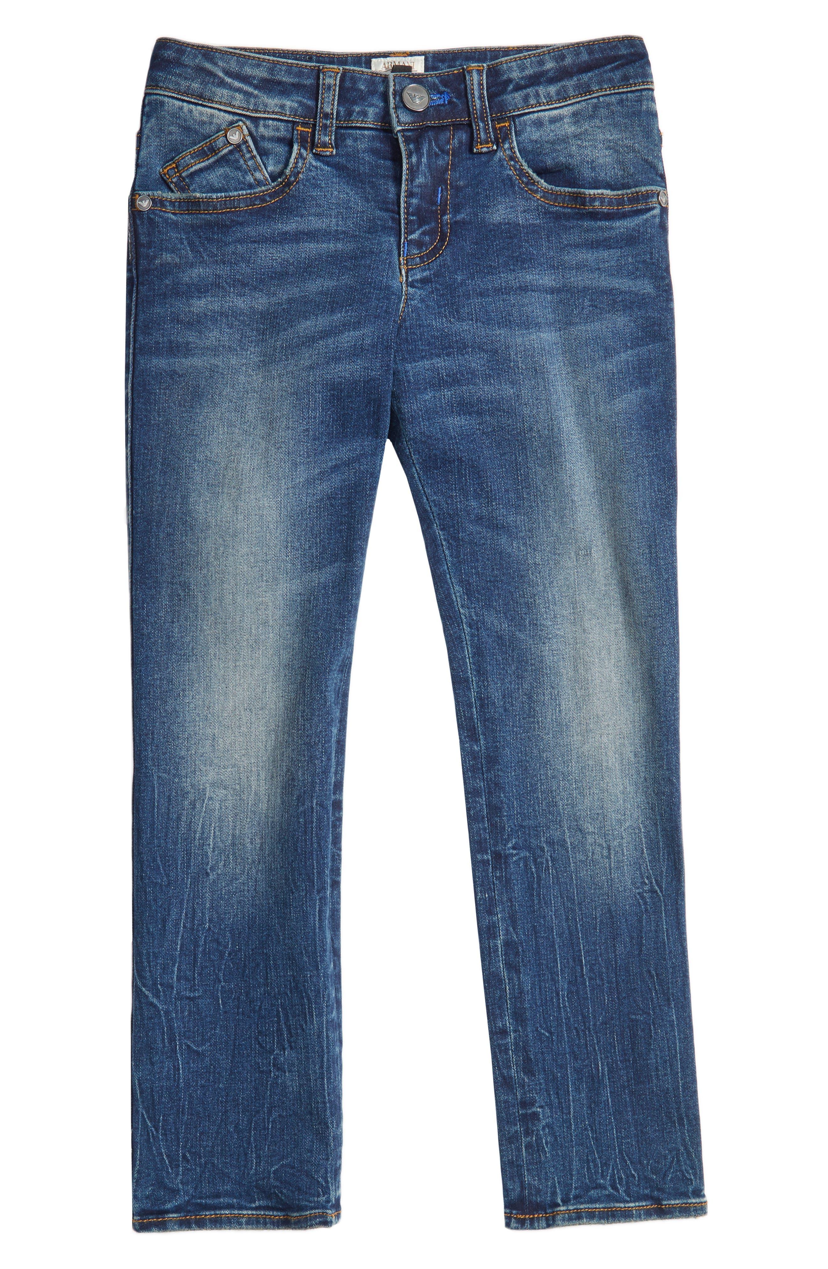 Main Image - Armani Junior Slim Straight Leg Jeans (Little Boys & Big Boys)