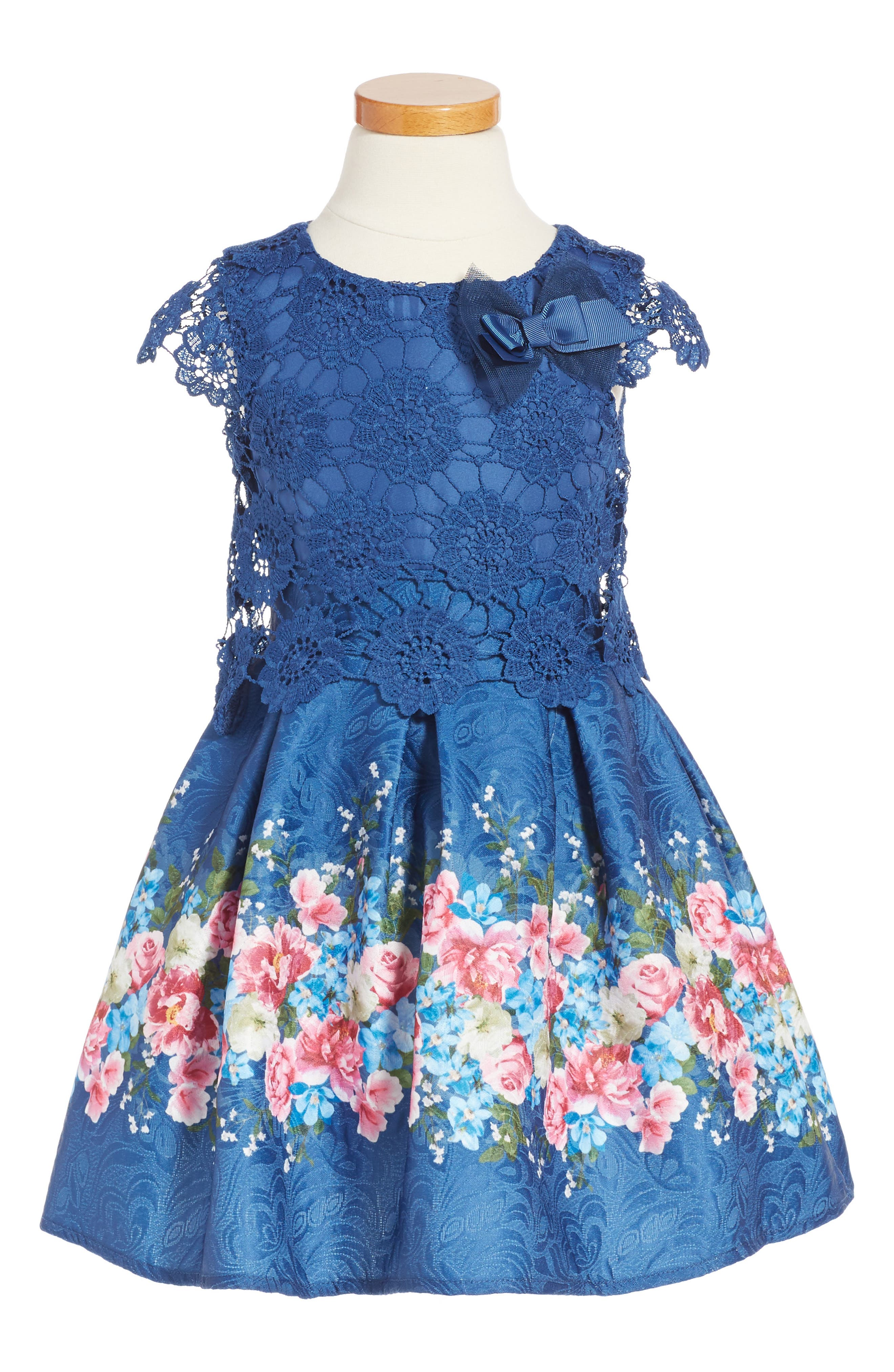 LITTLE ANGELS Lace Popover Bodice Party Dress