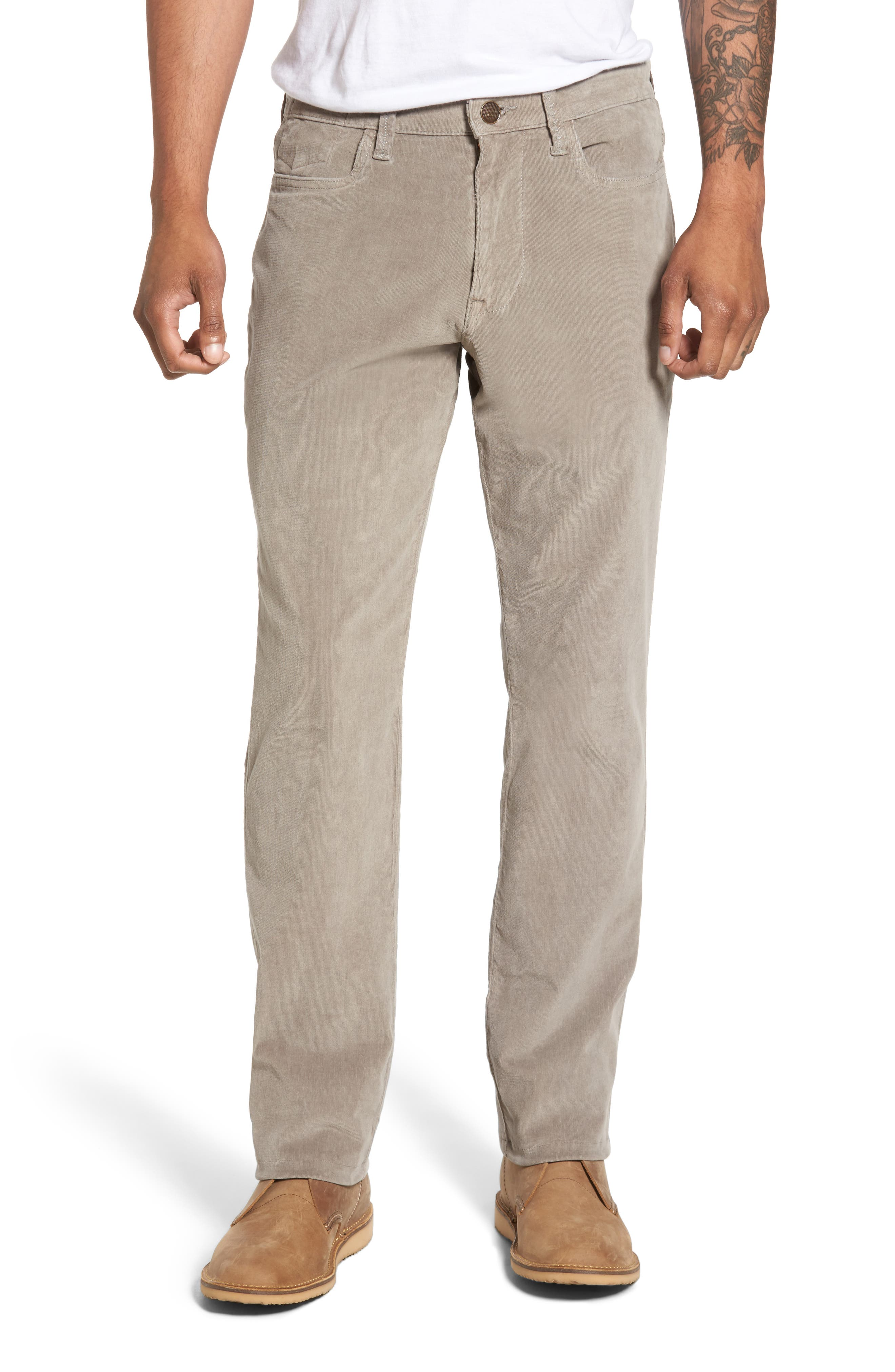 VINTAGE 1946 Modern Fit Stretch Corduroy Pants in Dusty Silver