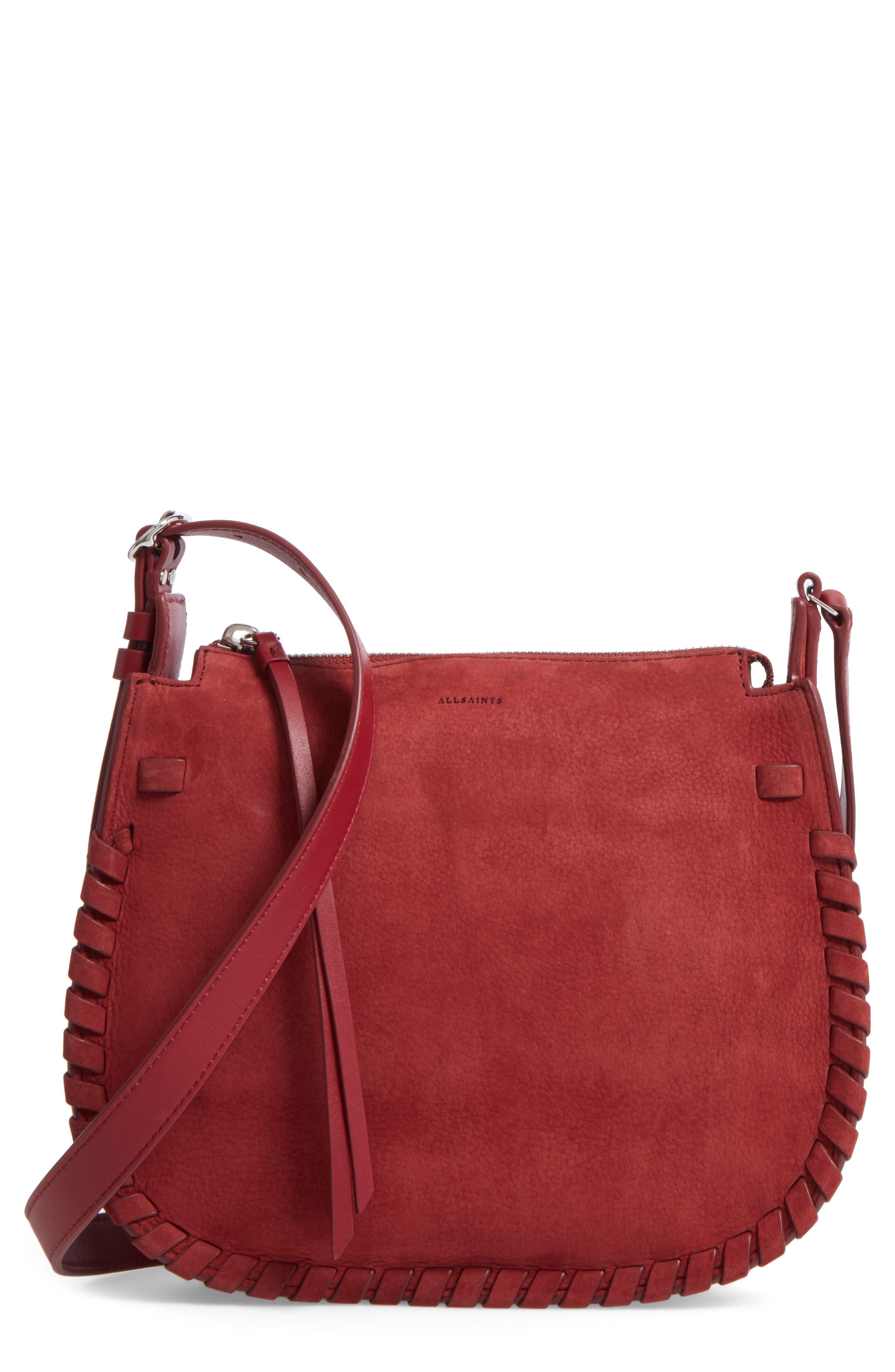 Ray Nubuck Crossbody Bag,                         Main,                         color, Berry Red