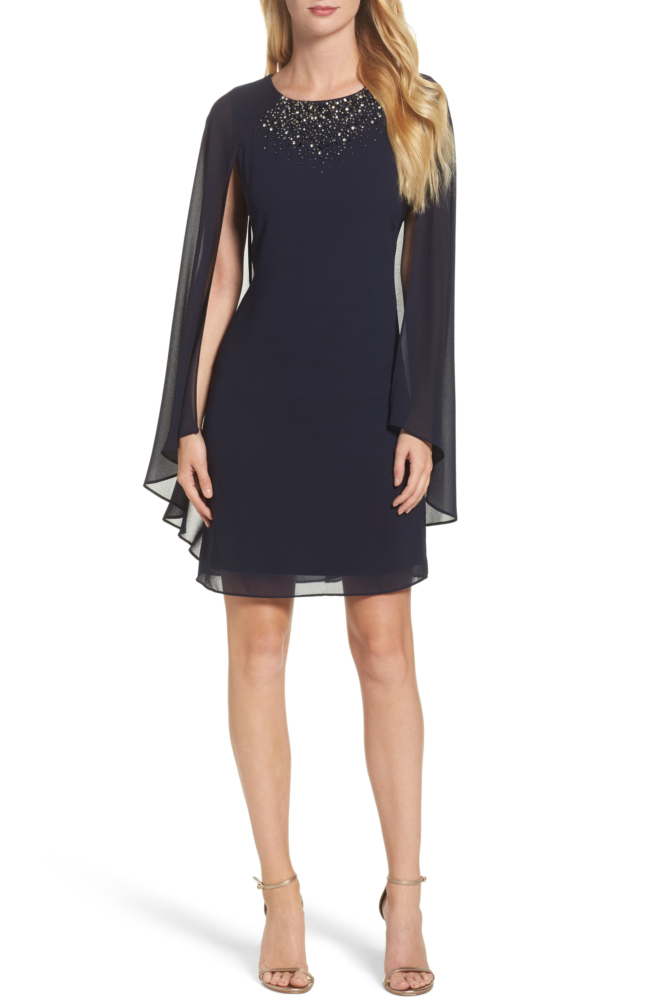 Embellished Caped Sheath Dress,                         Main,                         color, Navy