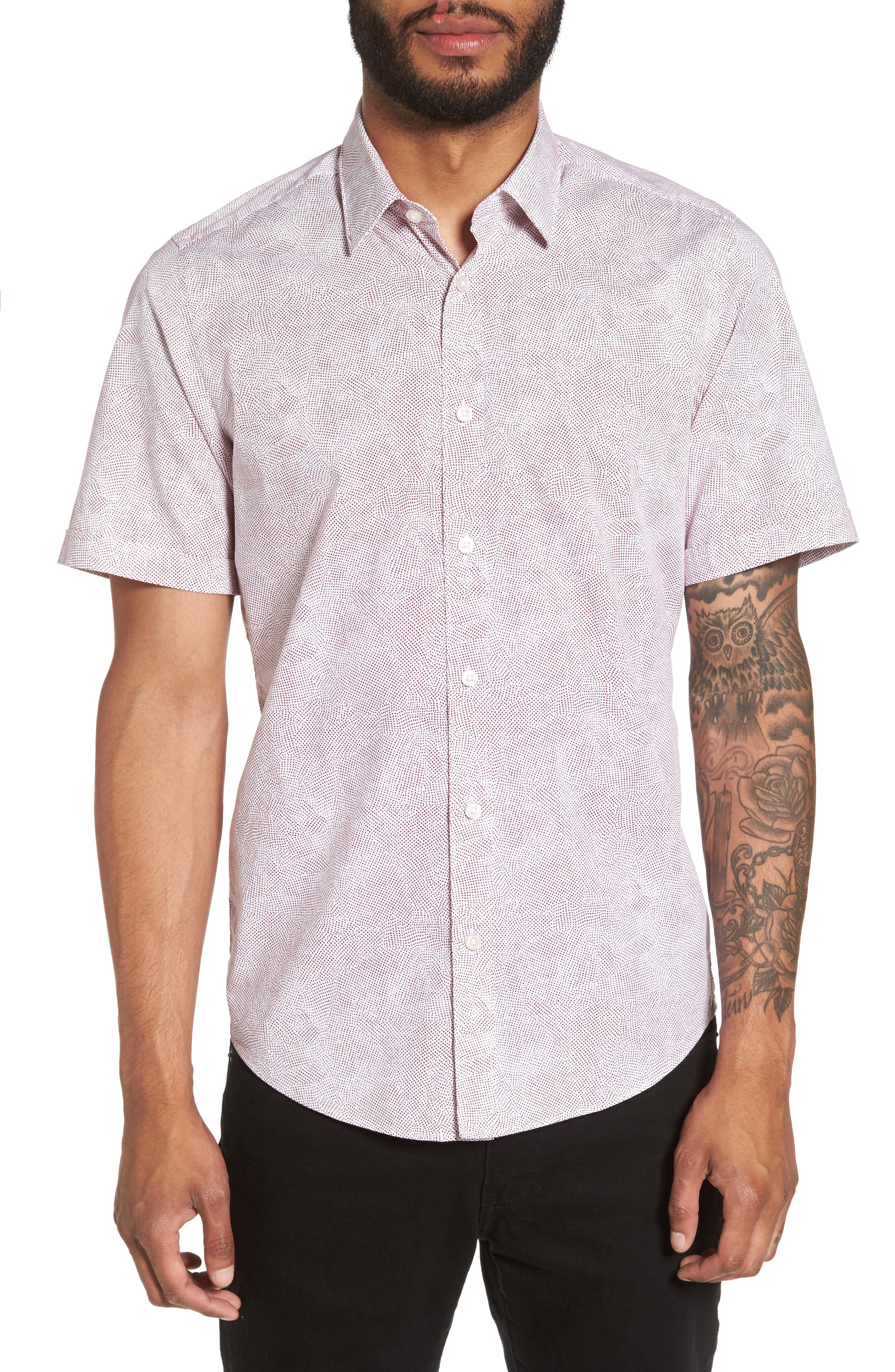 Luka Trim Fit Dot Print Sport Shirt,                         Main,                         color, Red