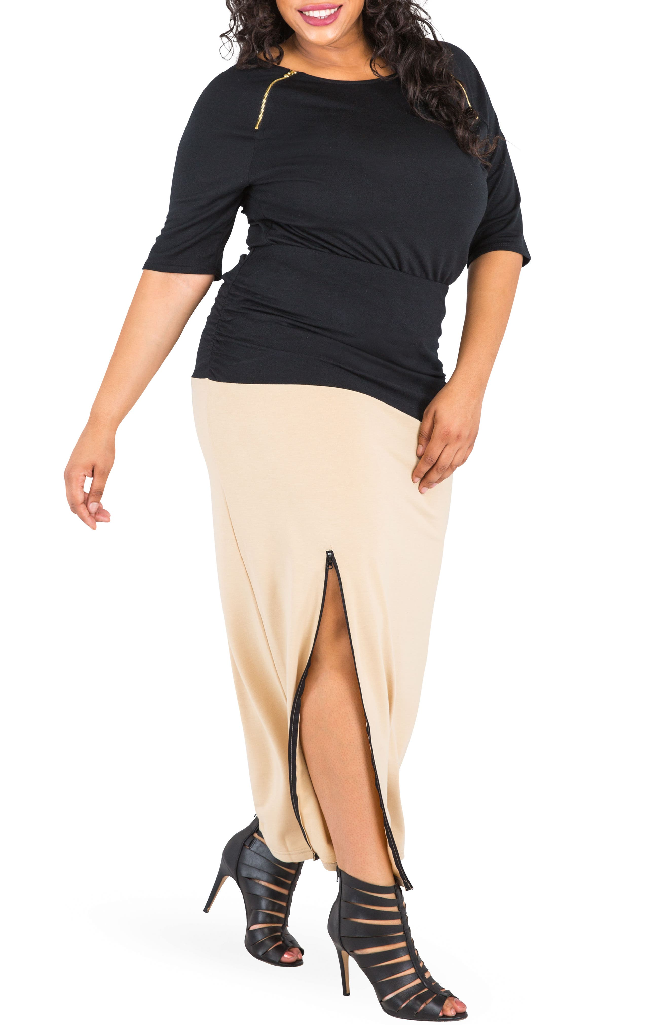 Alternate Image 2  - Poetic Justice Kandi Zip Slit Maxi Skirt (Plus Size)