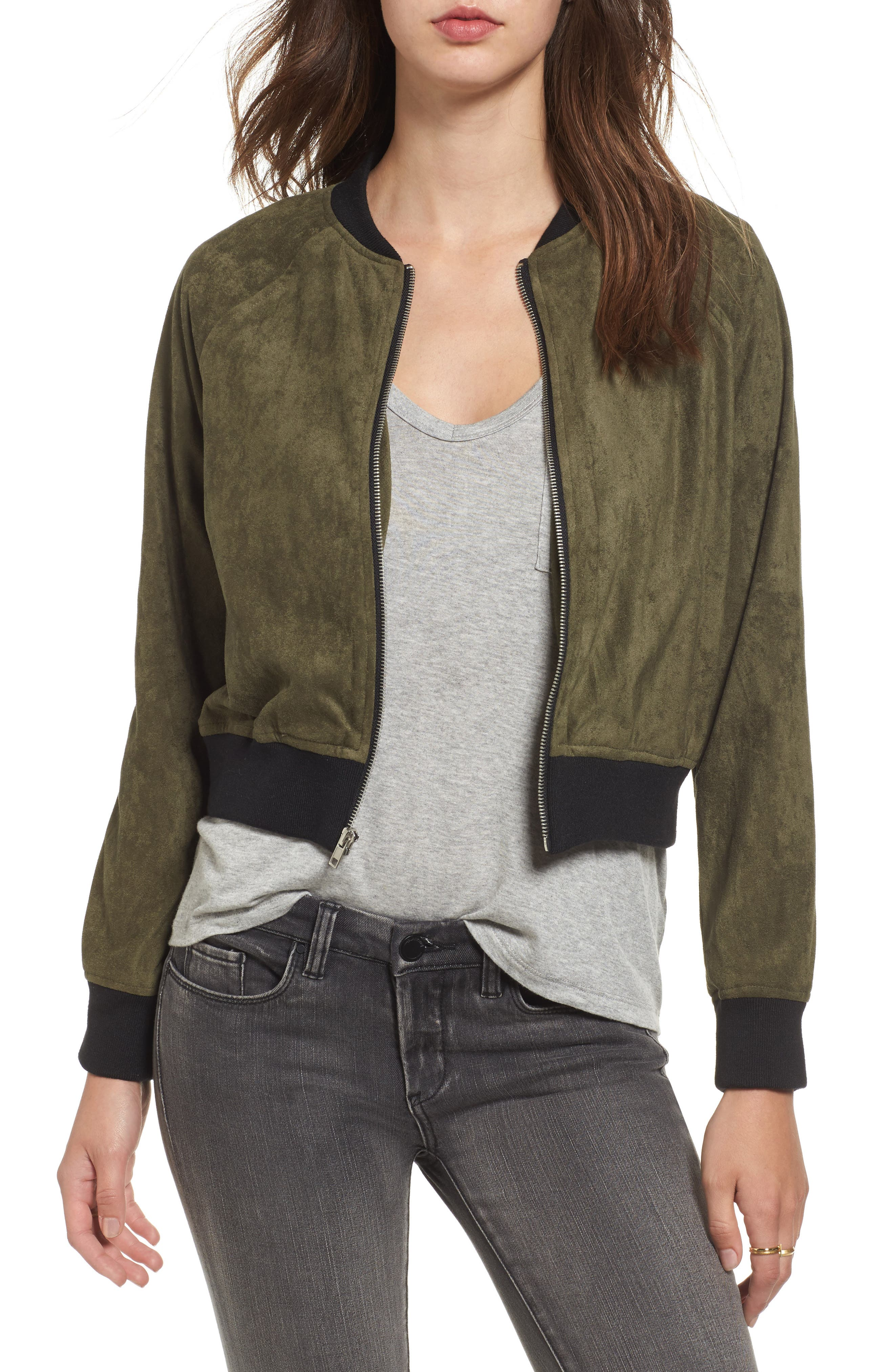 Ellie Faux Suede Bomber Jacket,                         Main,                         color, Sage