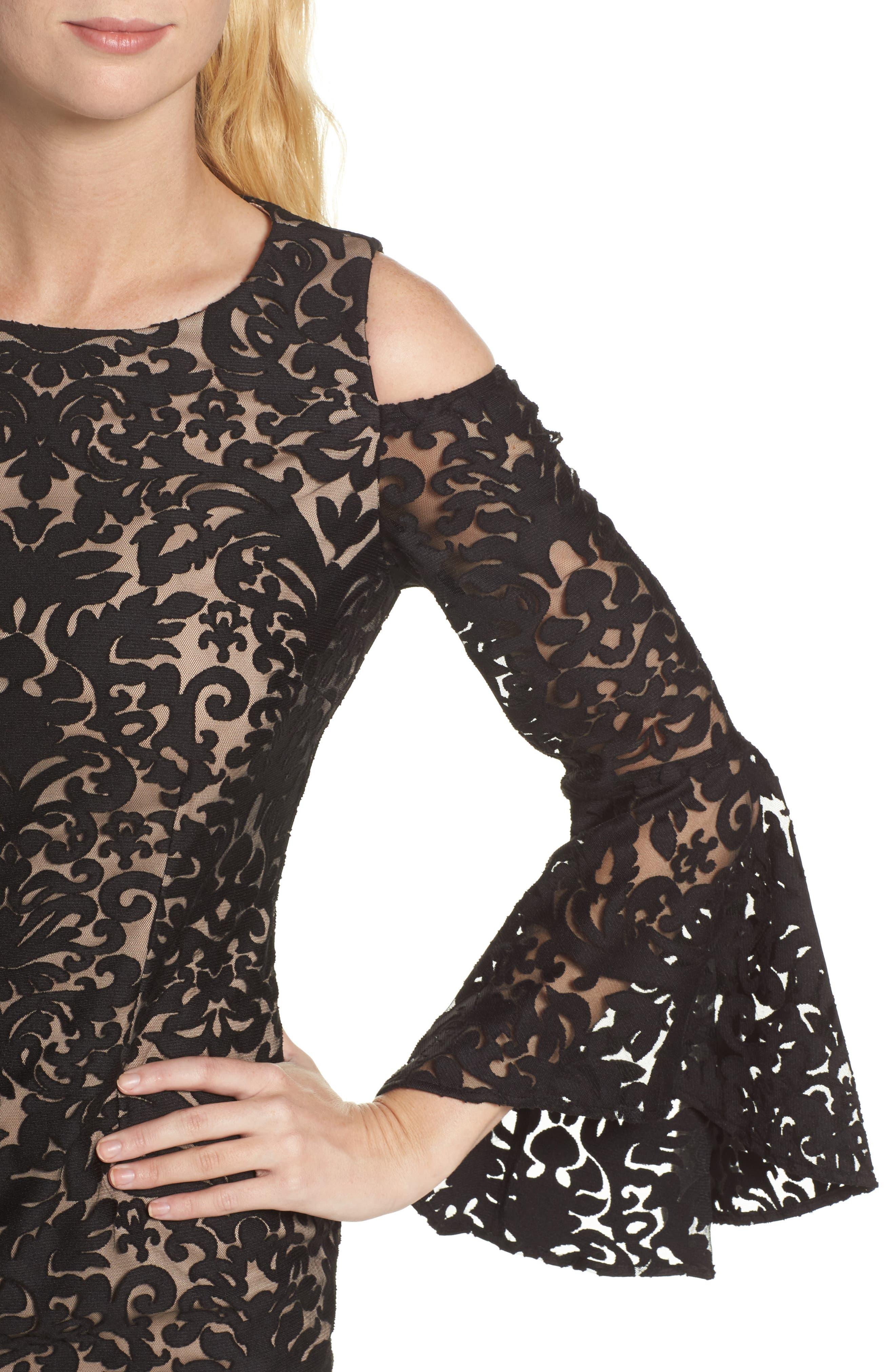 Flocked Cold Shoulder Sheath Dress,                             Alternate thumbnail 4, color,                             Black/ Nude