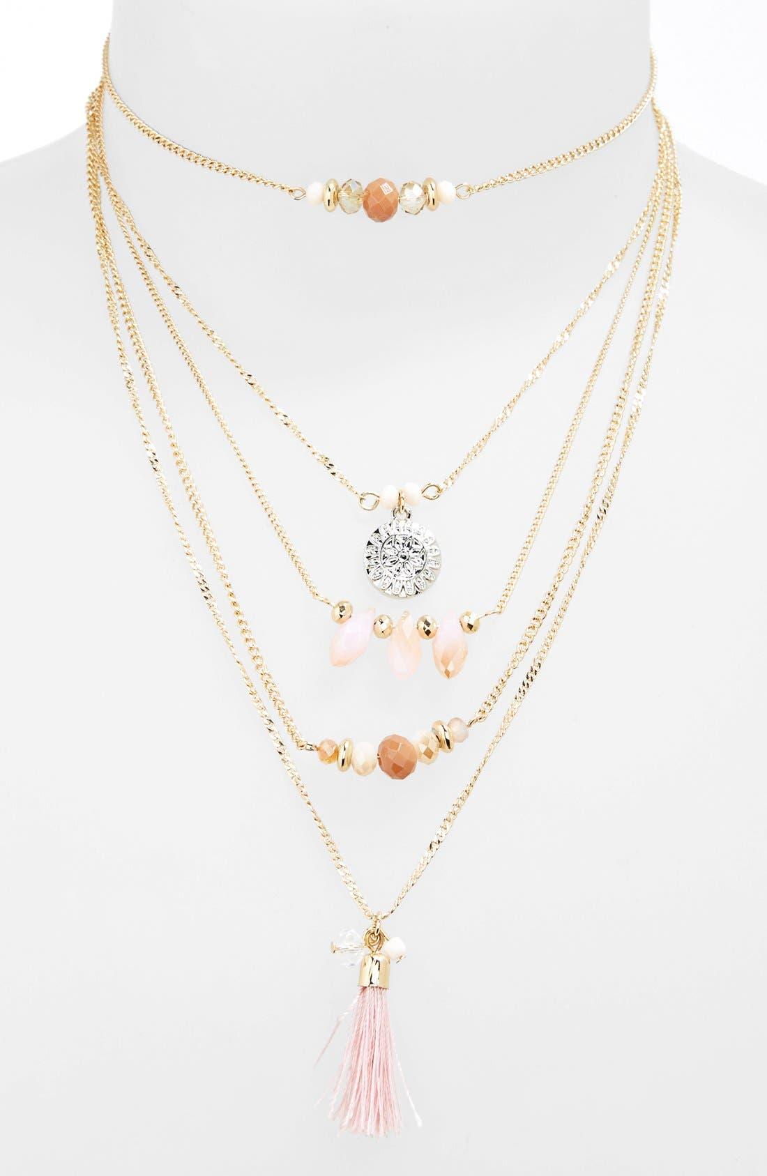 Main Image - Topshop Bead & Tassel Multi-Row Necklace