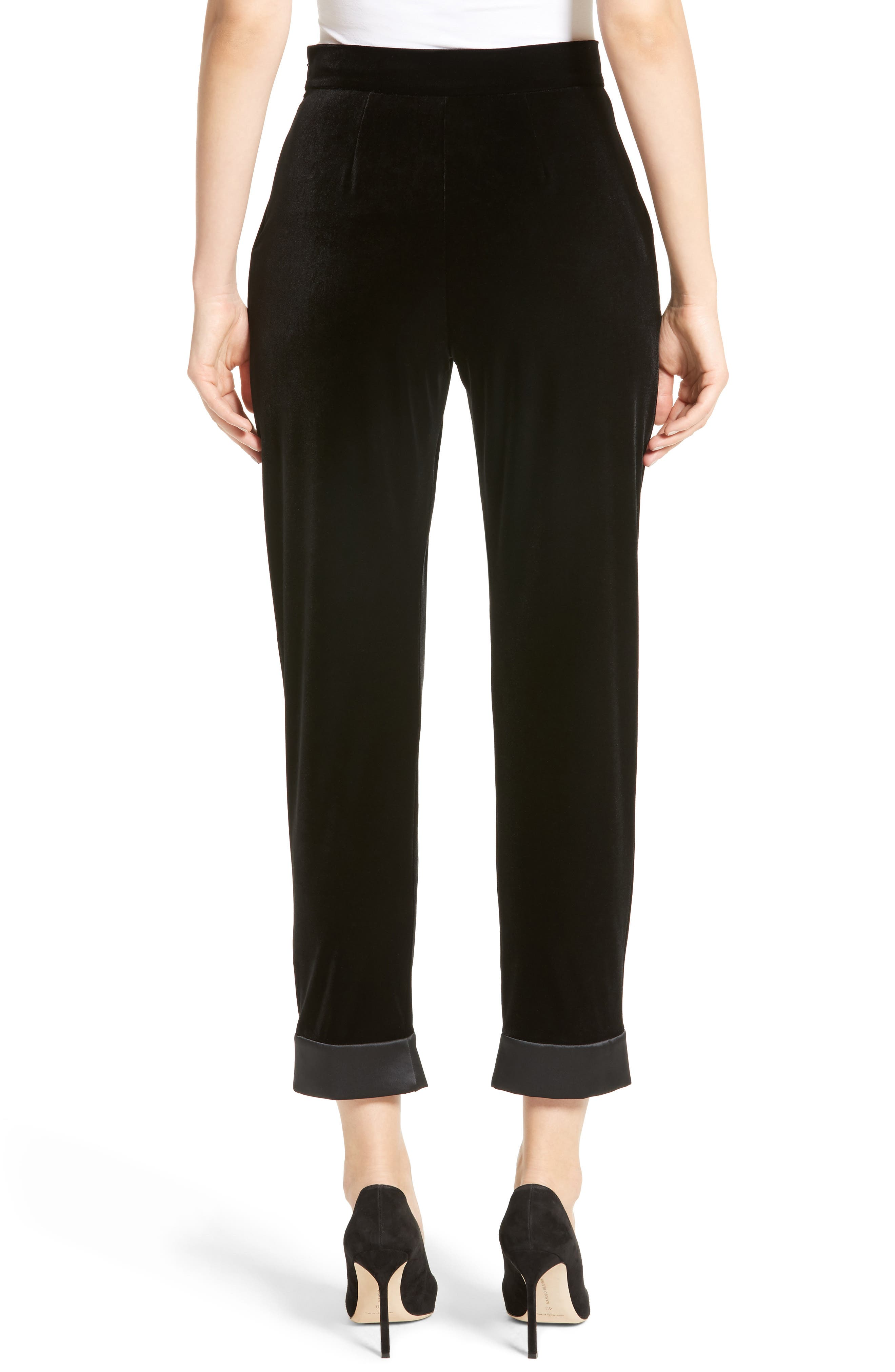 Alternate Image 2  - Armani Collezioni Stretch Velvet Ankle Pants