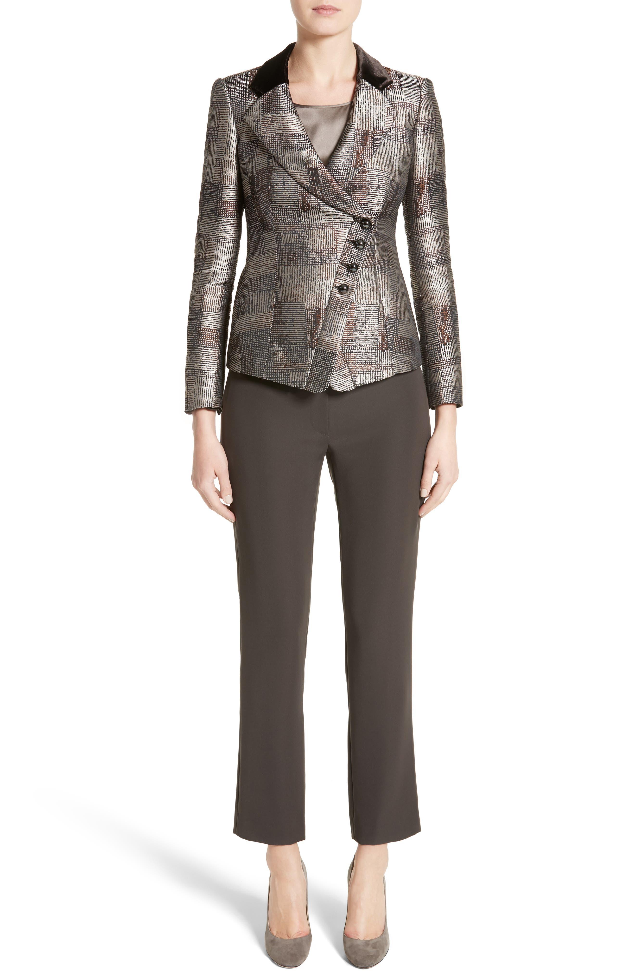 Alternate Image 7  - Armani Collezioni Panel Jacquard Asymmetrical Jacket