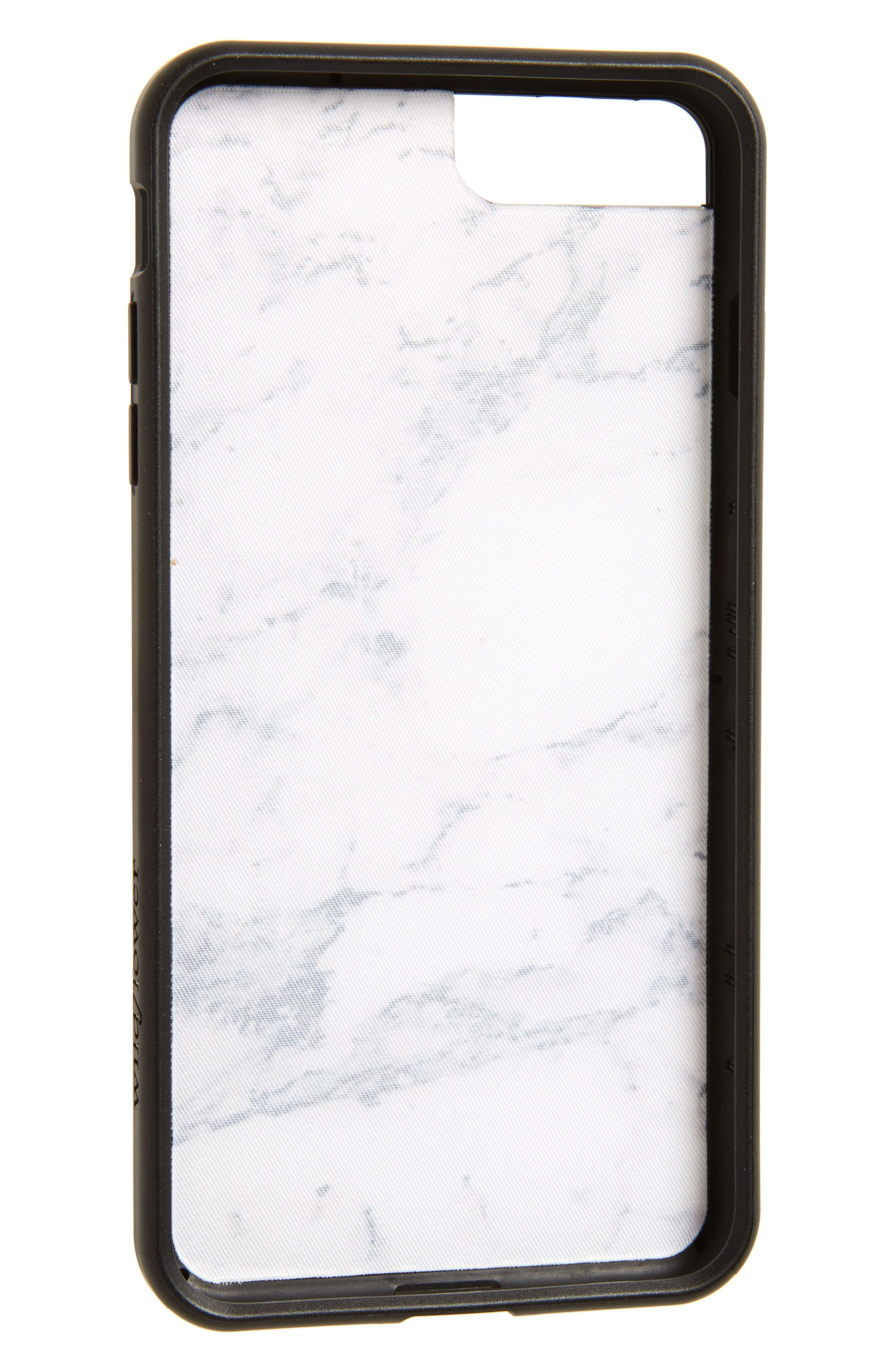 Marble iPhone 7 Plus Case,                             Alternate thumbnail 2, color,                             White/ Black