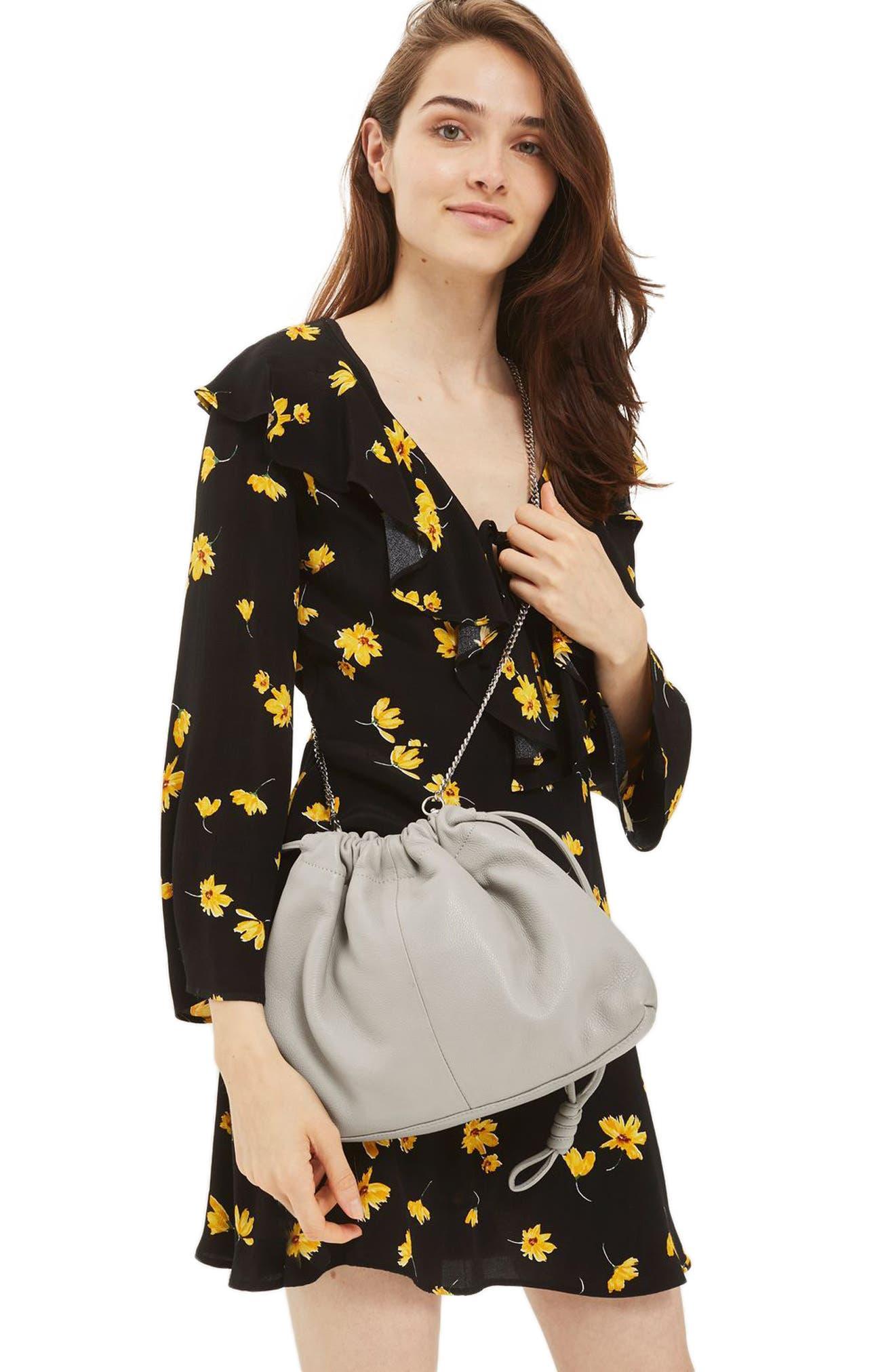 Alternate Image 2  - Topshop Premium Leather Drawstring Crossbody Bag