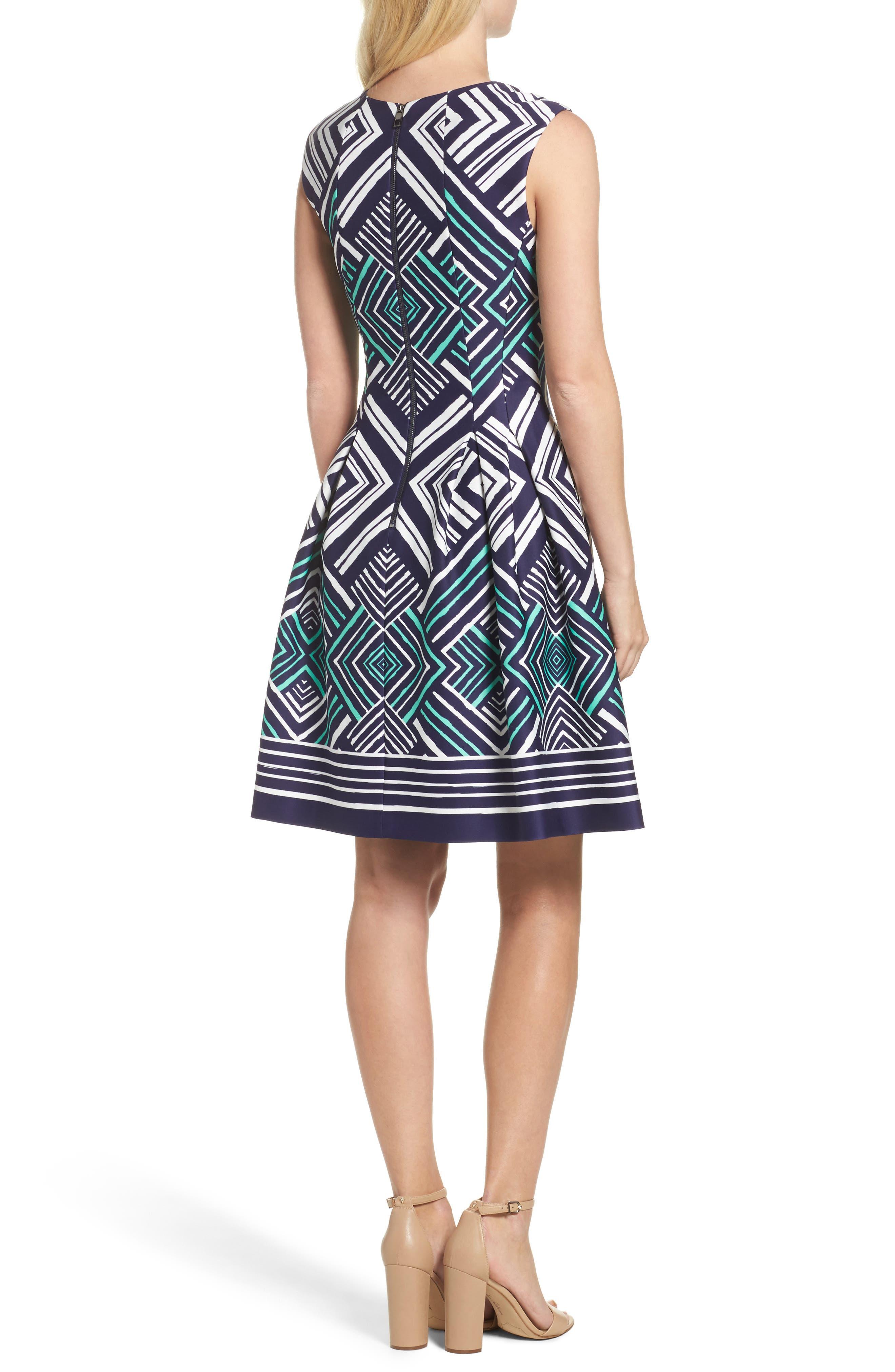 Fit & Flare Dress,                             Alternate thumbnail 2, color,                             Navy/ Multi