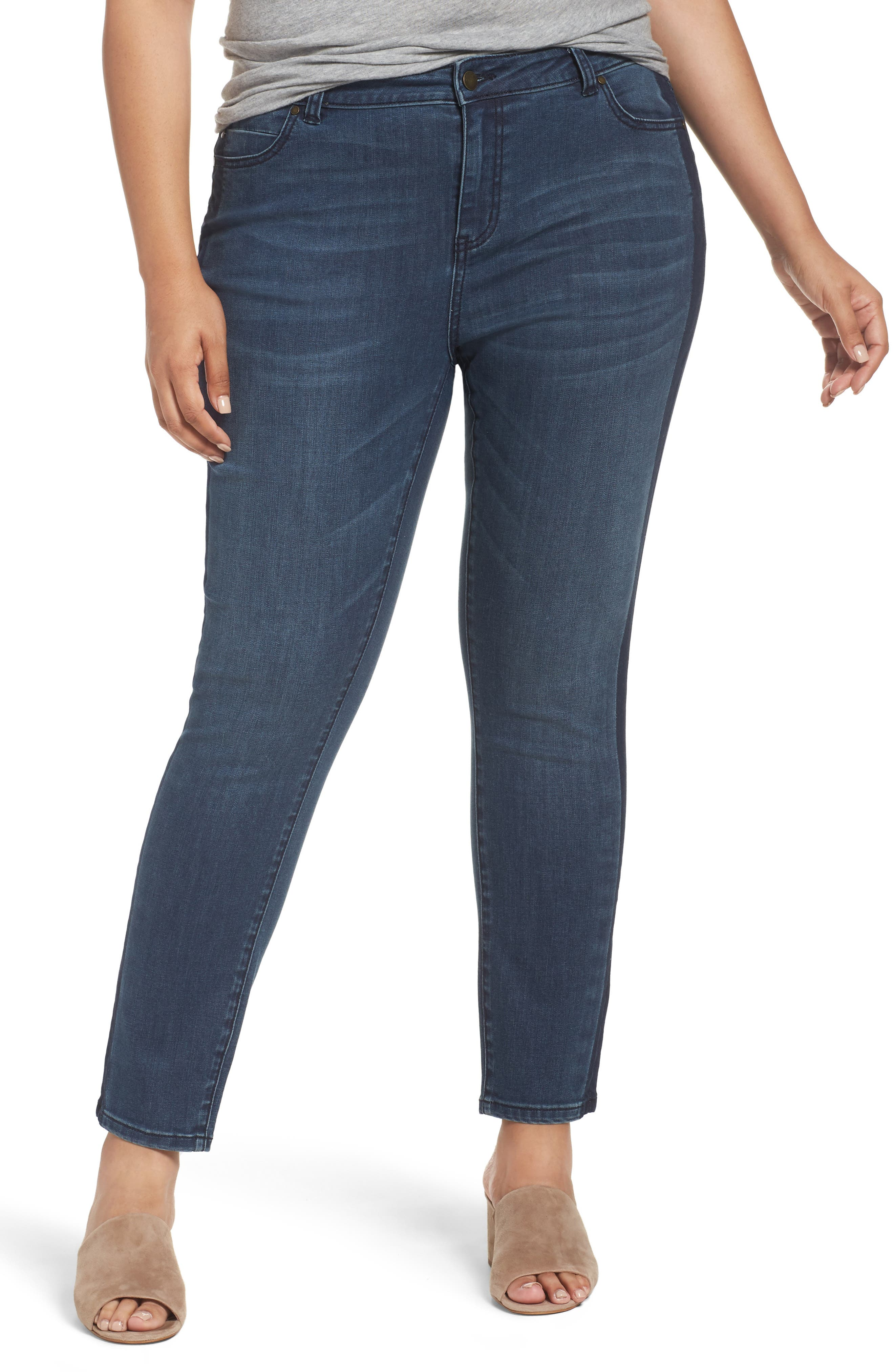 Caslon® Side Panel Skinny Ankle Jeans (Blue Amara) (Plus Size)