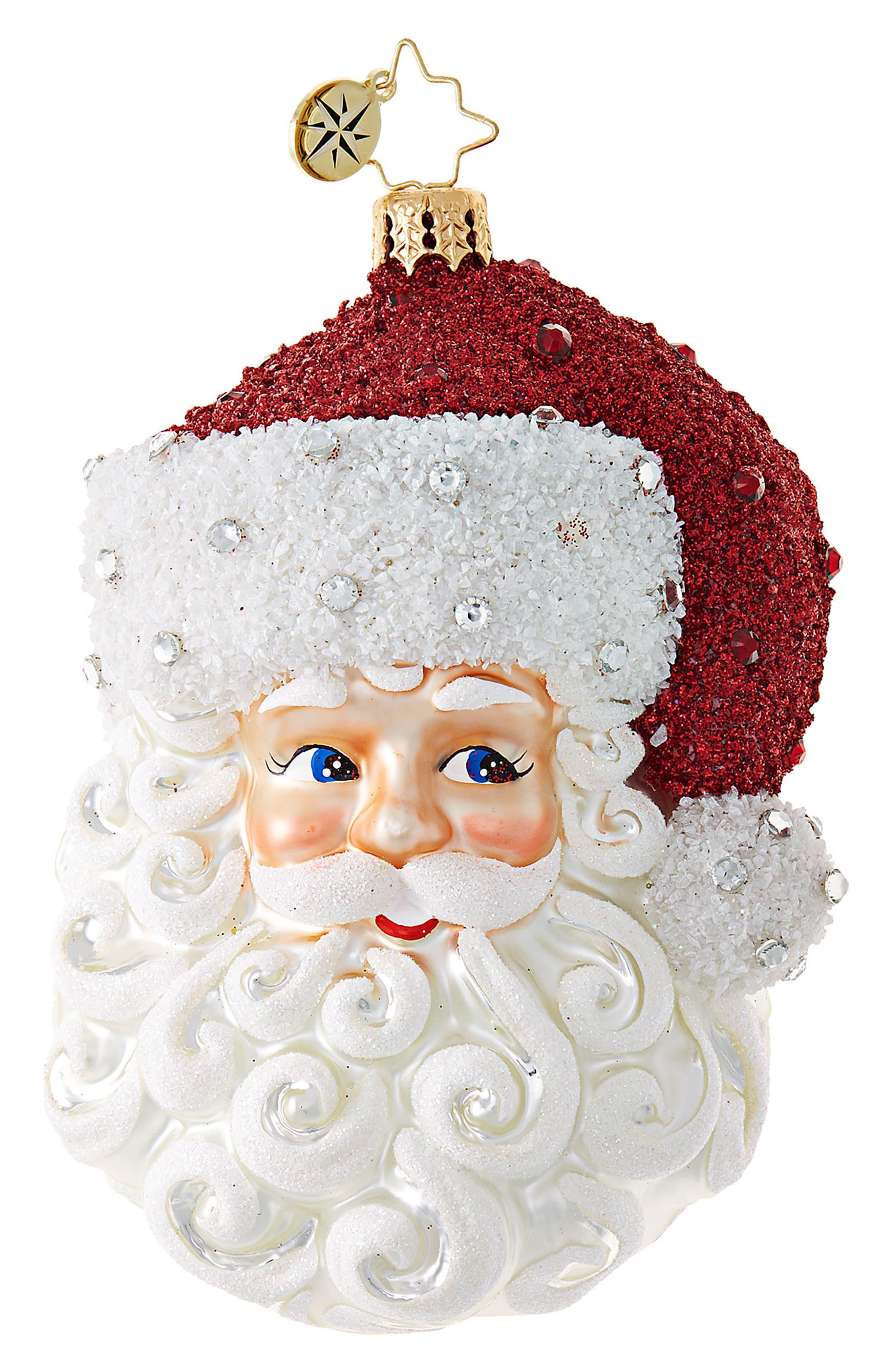 Simply Fabulous Santa Glass Ornament,                             Main thumbnail 1, color,                             White/ Multi