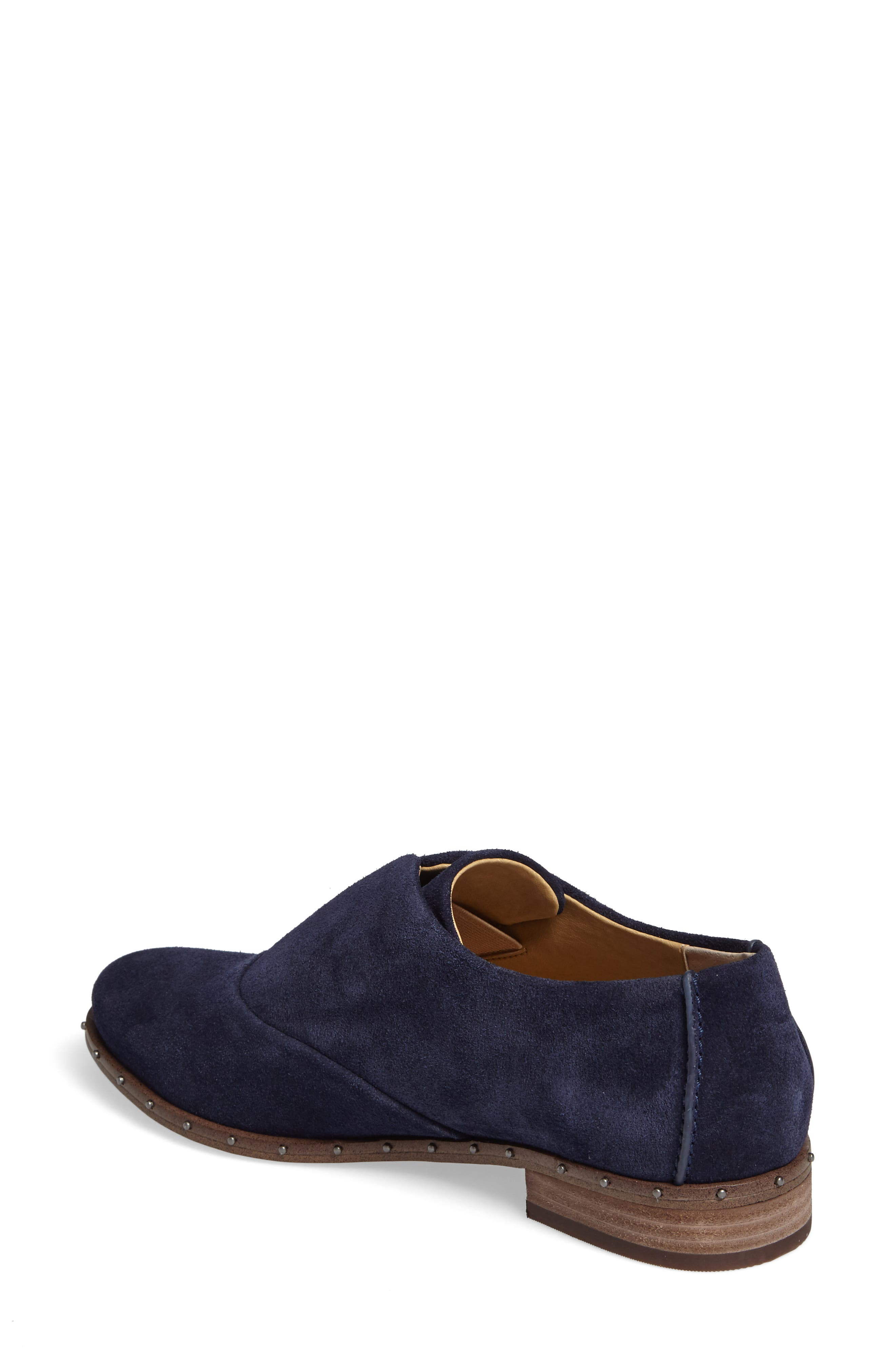 Deandra Studded Laceless Oxford,                             Alternate thumbnail 2, color,                             Navy Suede