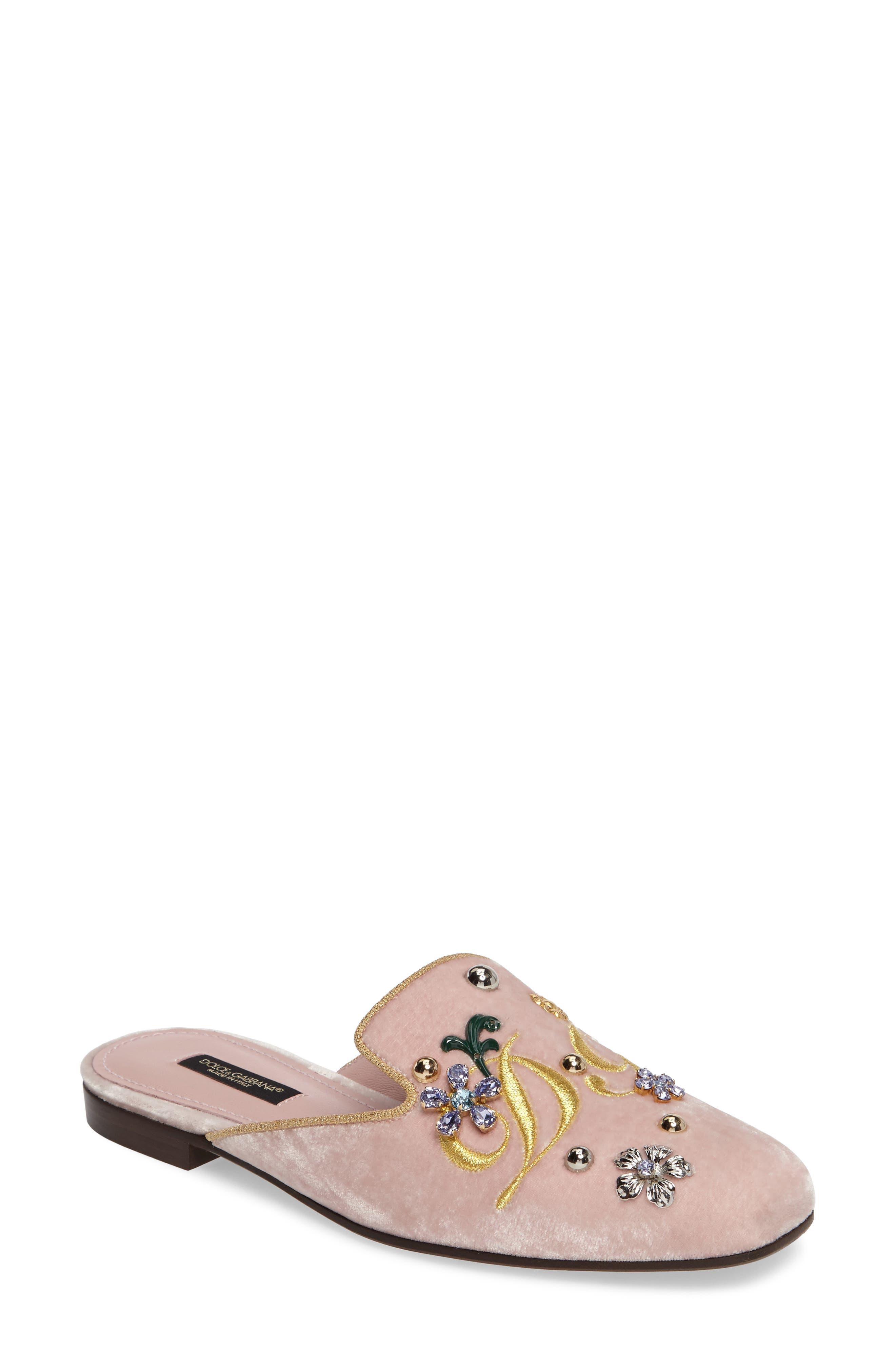 Embellished Velvet Mule,                             Main thumbnail 1, color,                             Pink/ Gold