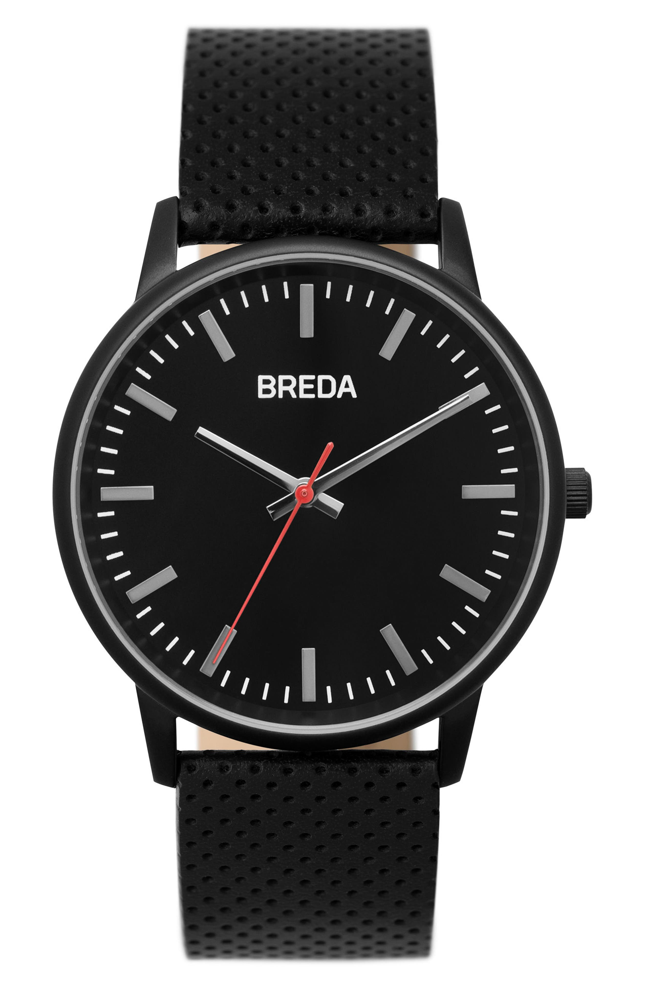 Zapf Round Perforated Leather Strap Watch, 39mm,                         Main,                         color, Black/ Black