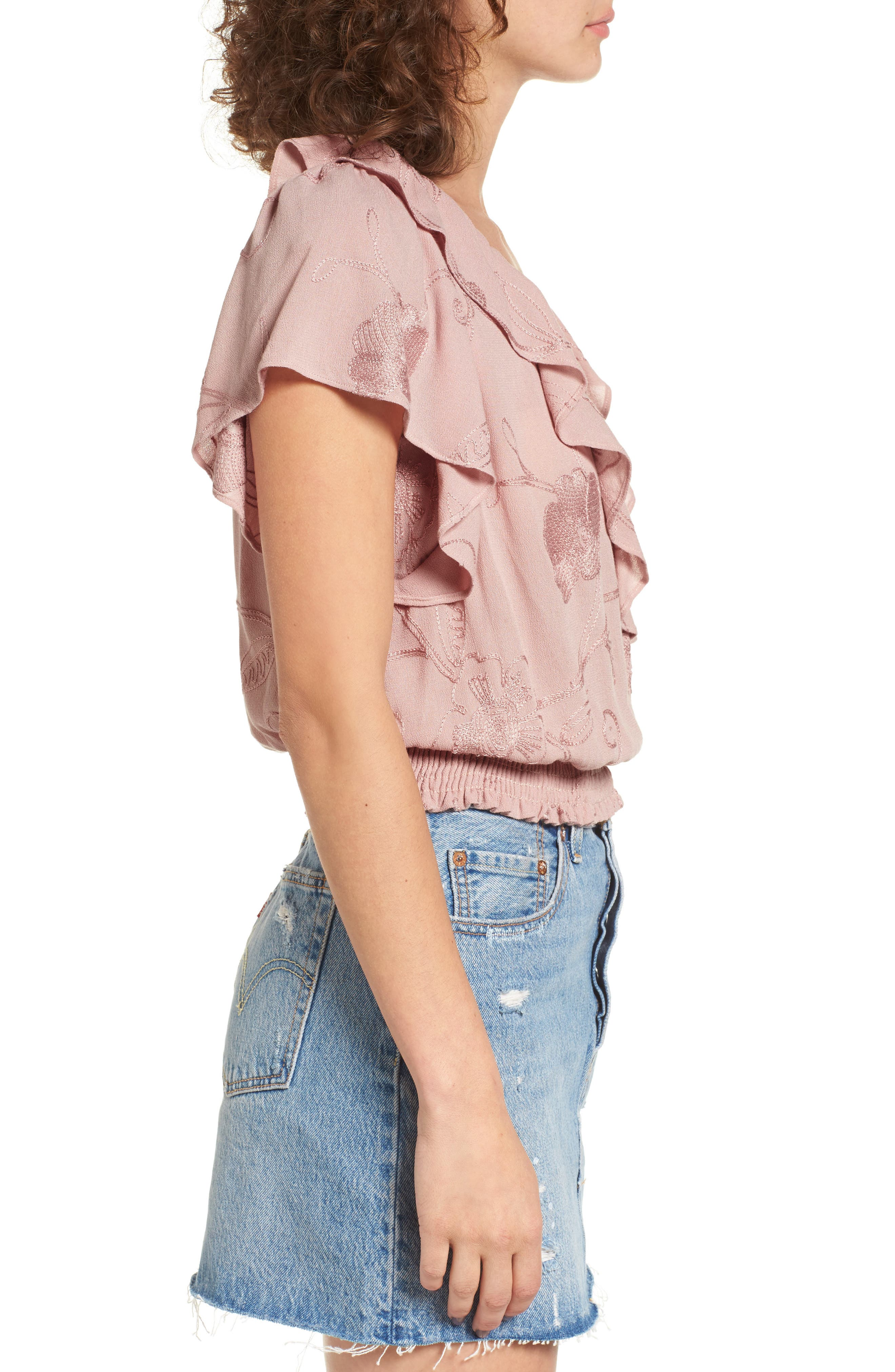 Ruffle Top,                             Alternate thumbnail 3, color,                             Pink Adobe