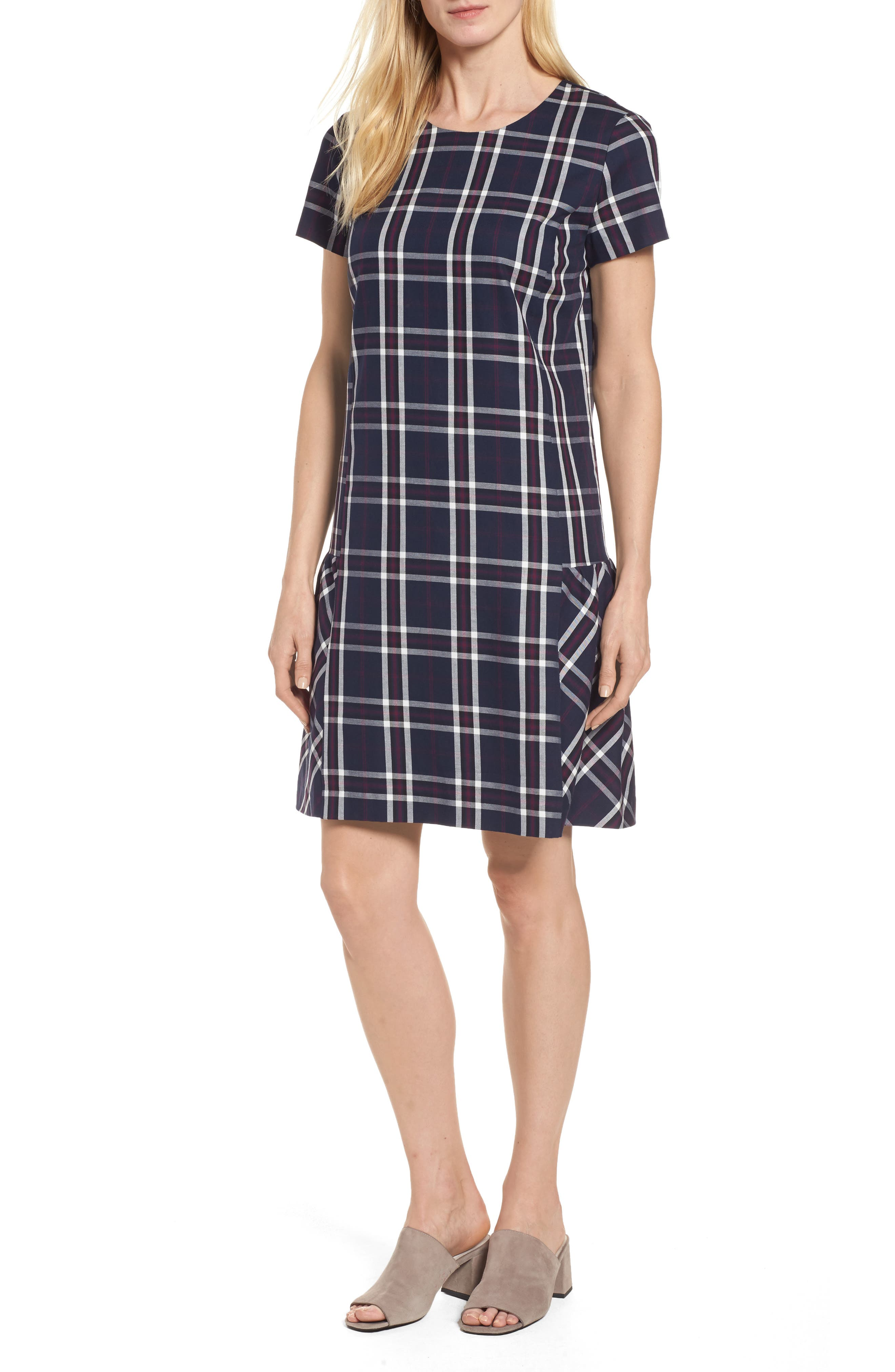 Halogen® Drop Waist Plaid Dress (Regular & Petite)