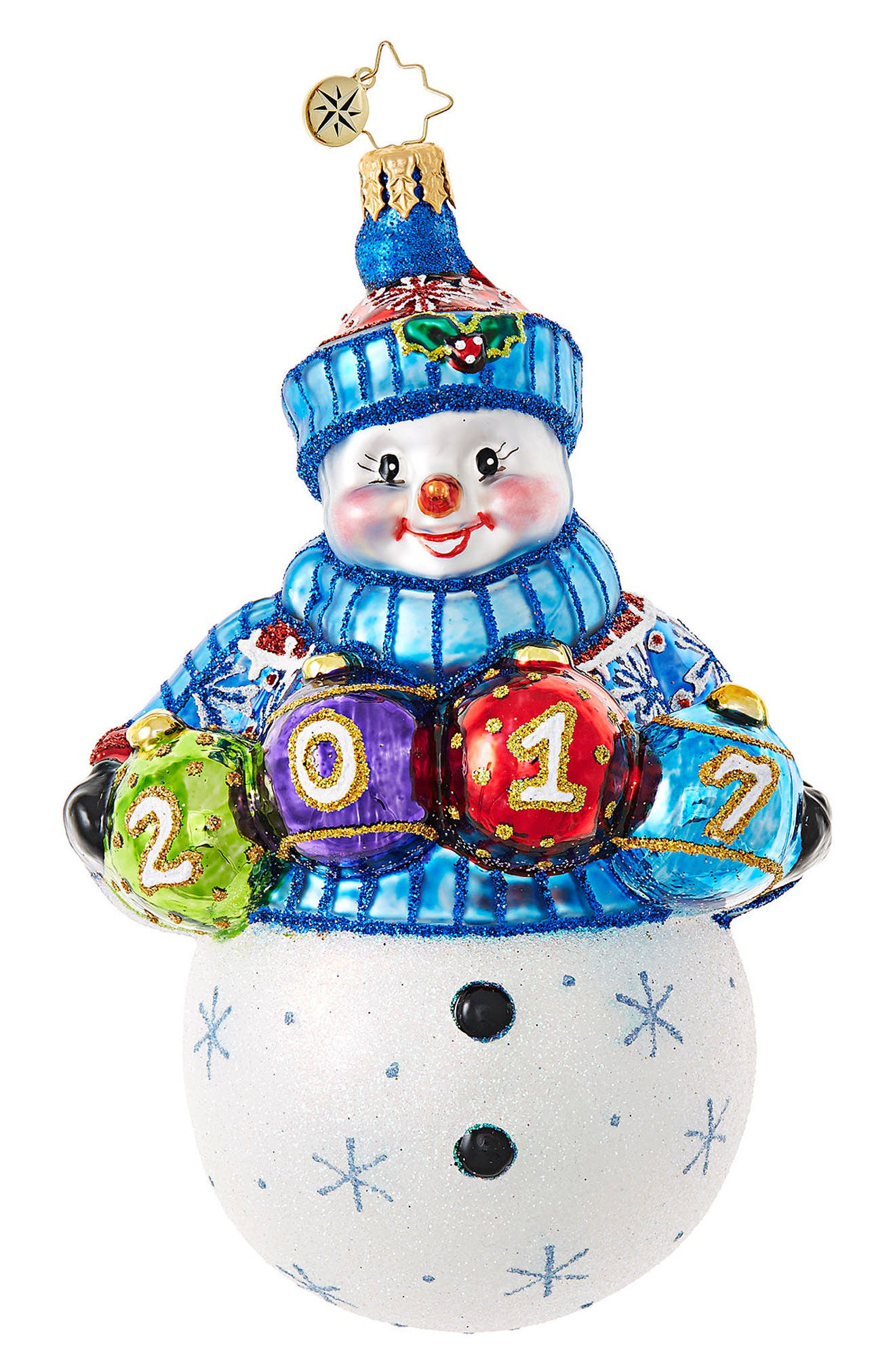 A Fun Frosty Year Glass Ornament,                         Main,                         color, Blue/ Multi