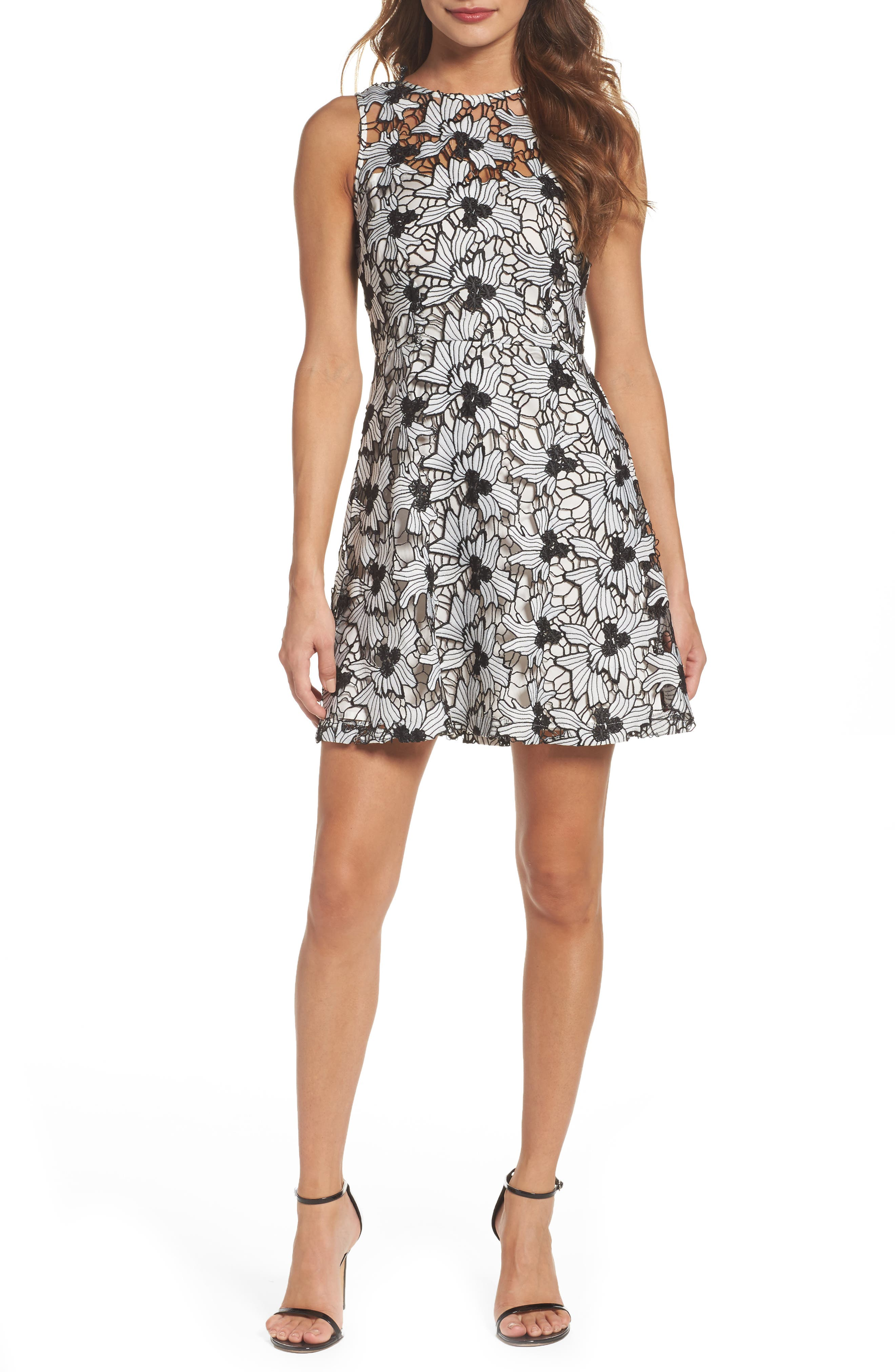 Anneka Lace Fit & Flare Dress,                         Main,                         color, White