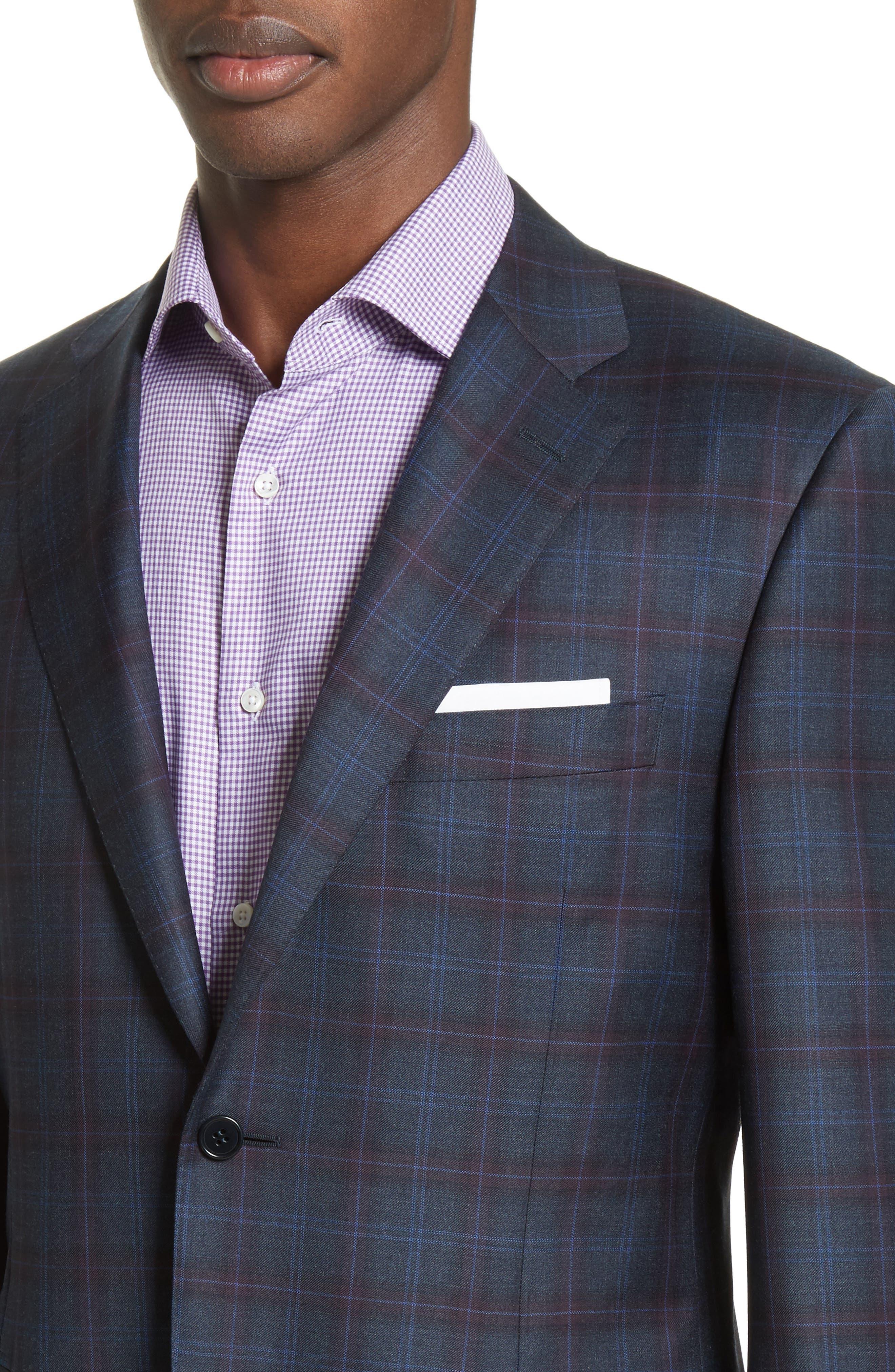 Alternate Image 4  - Canali Kei Classic Fit Plaid Wool Sport Coat