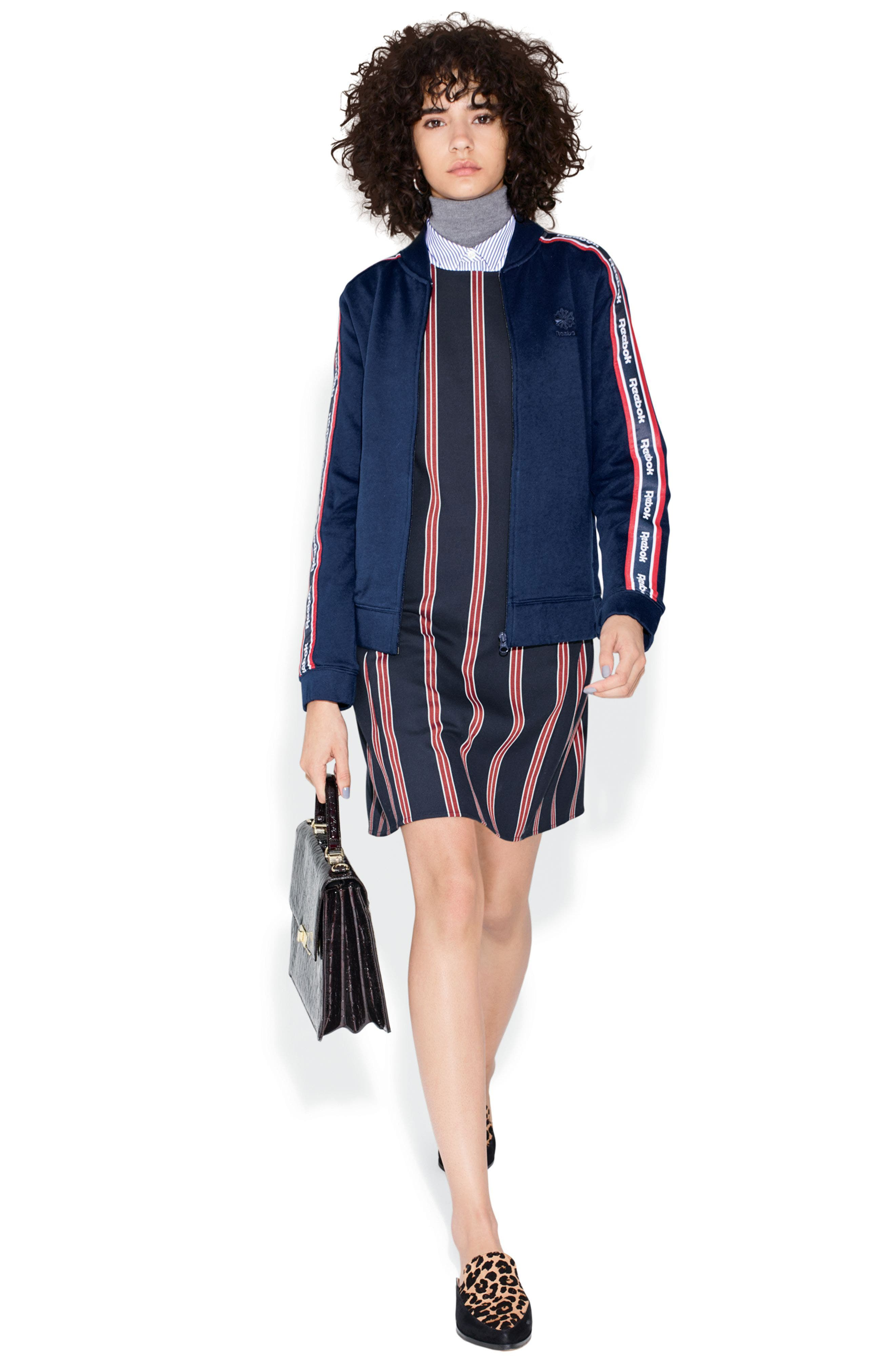 Reebok Jacket, Veronica Beard Blouse & Halogen® Dress Outfit with Accessories
