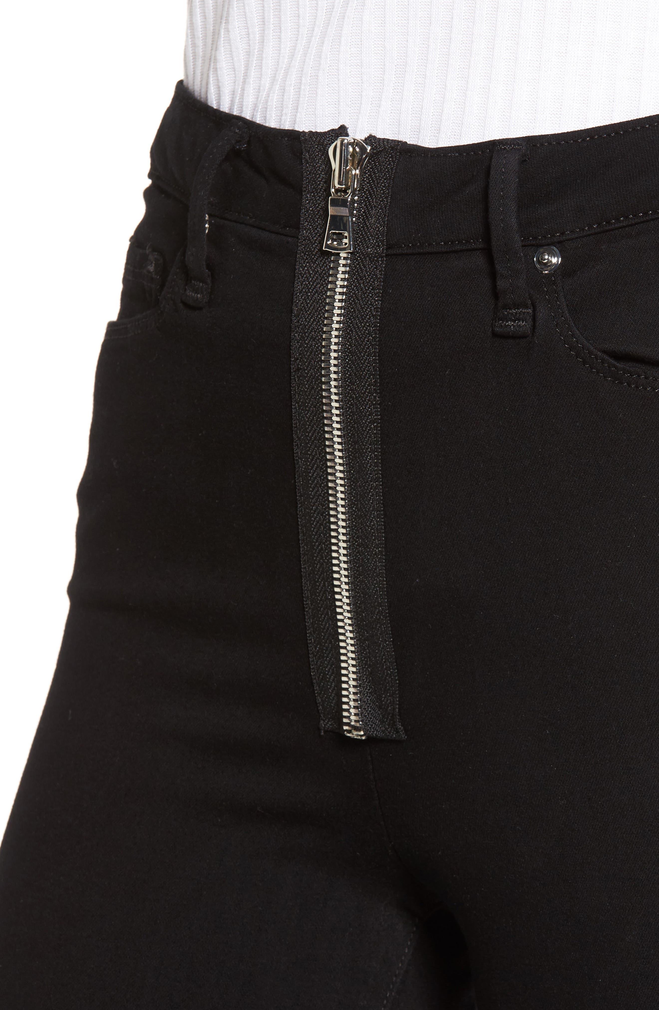 Good Waist Exposed Zip Skinny Jeans,                             Alternate thumbnail 4, color,                             Black001